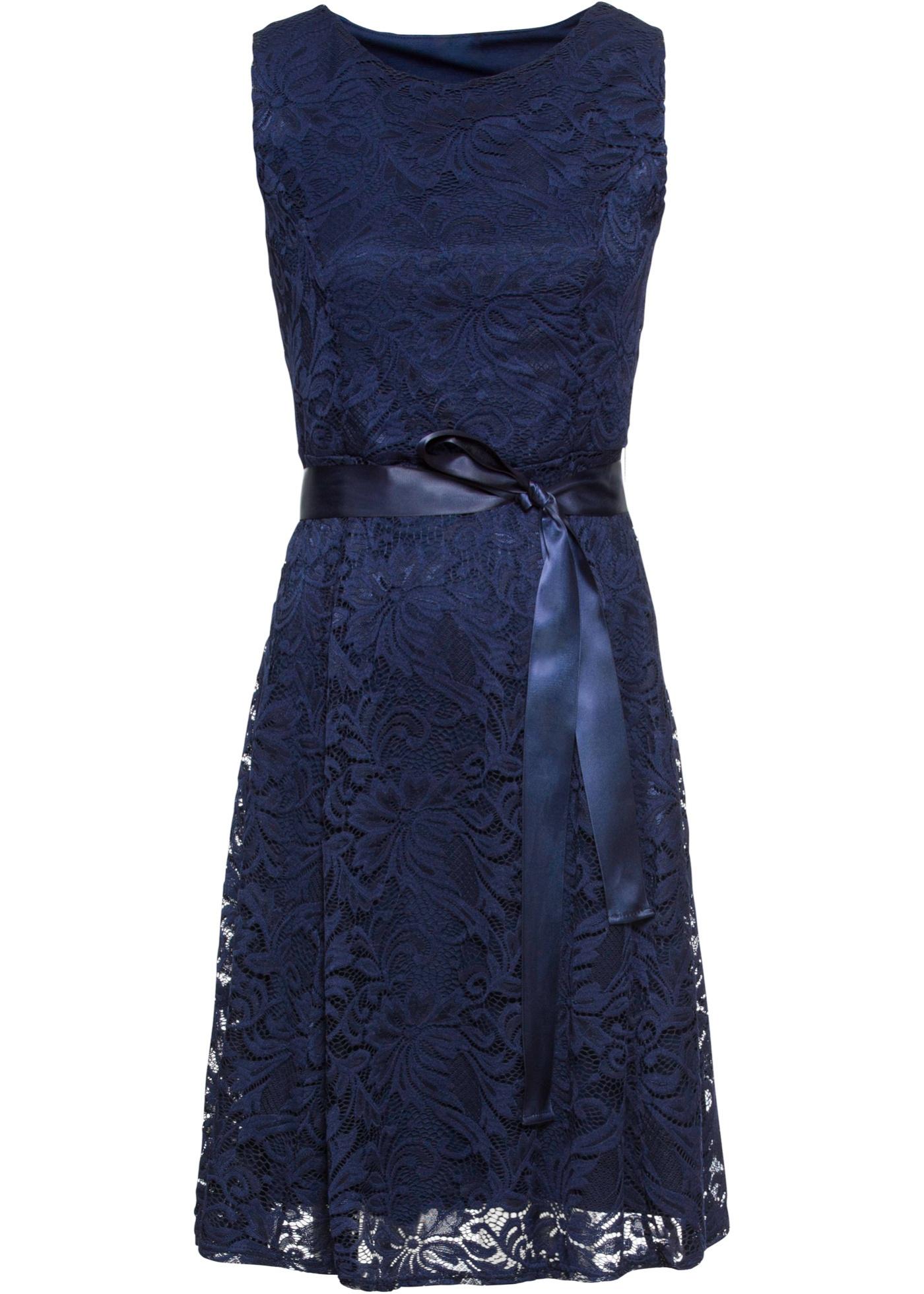 Spitzenkleid mit Satinband ohne Ärmel  in blau für Damen von bonprix