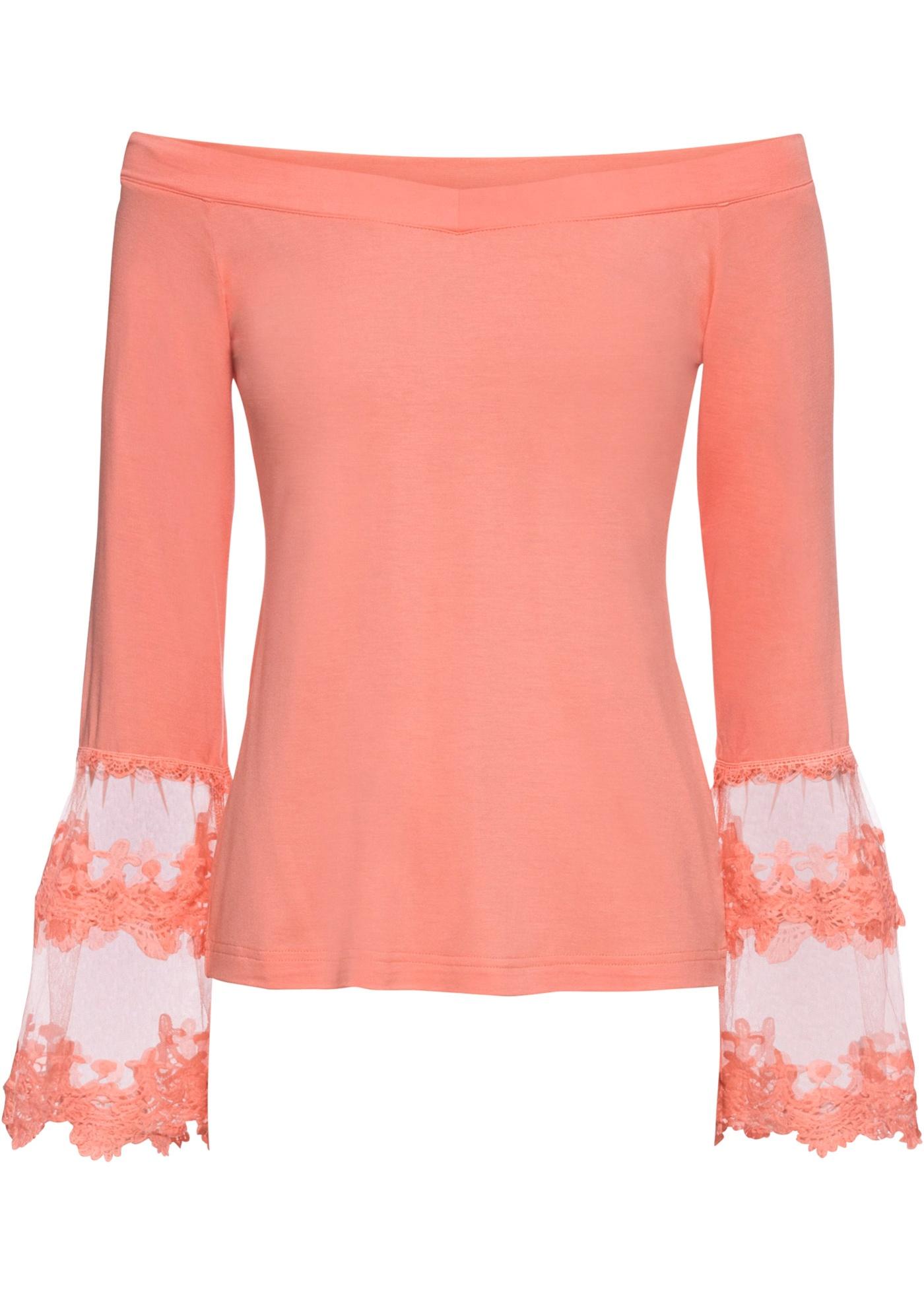 Carmenshirt mit Spitze in rosa für Damen von bonprix