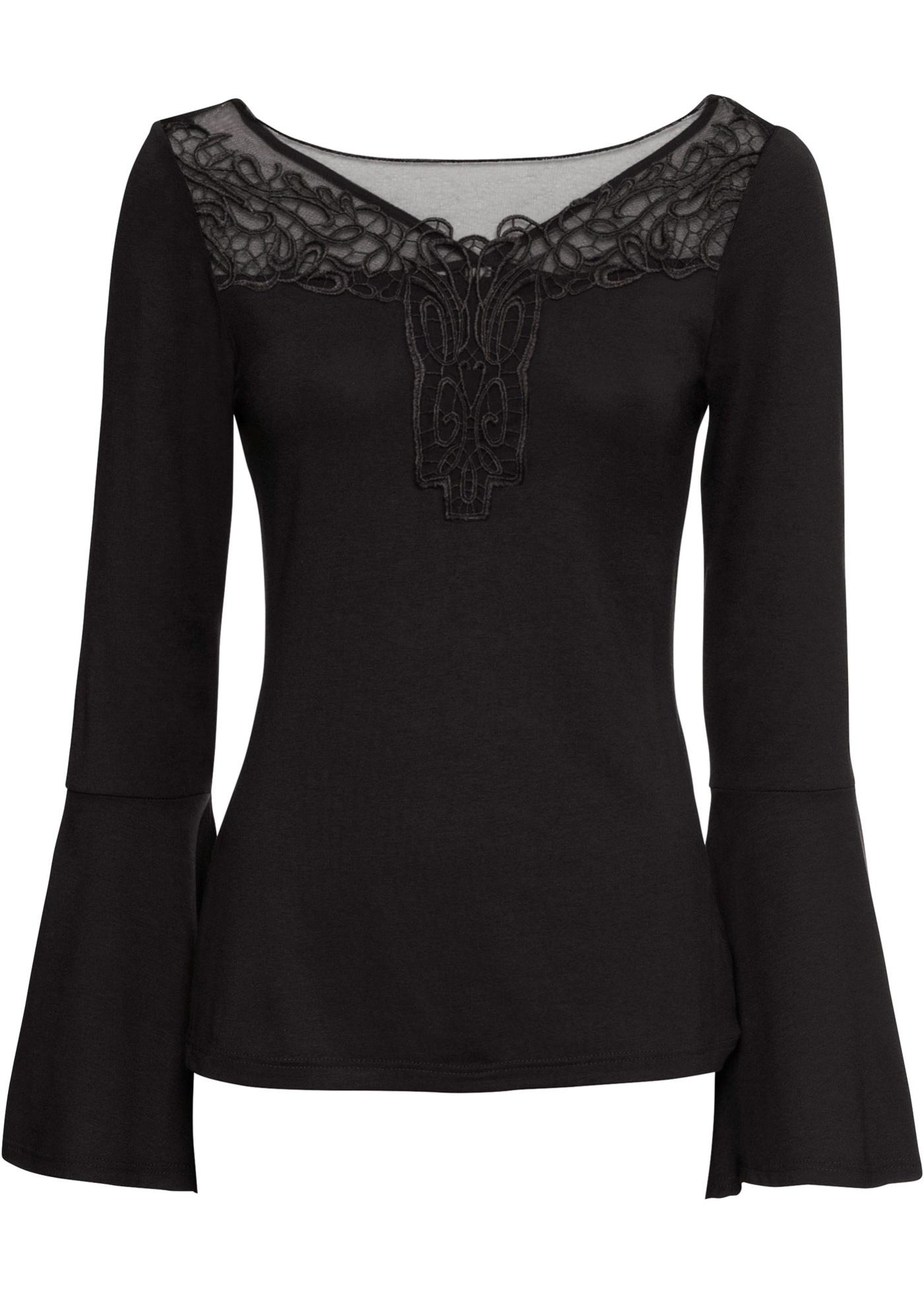 Shirt mit Spitze langarm  in schwarz für Damen von bonprix