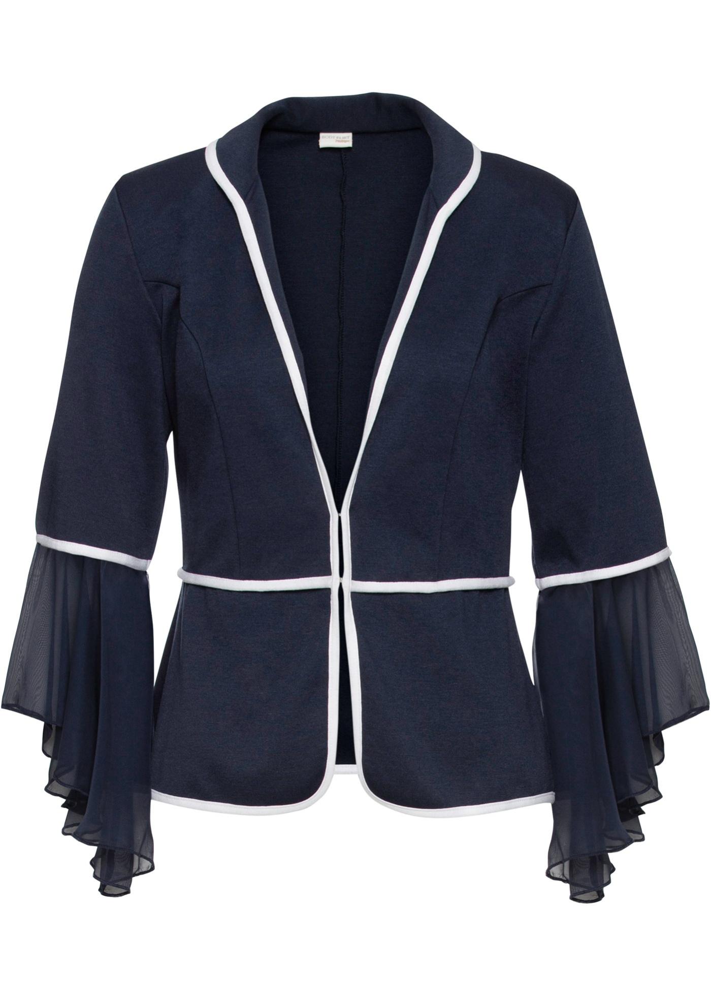Shirtjacke mit Chiffon-Volant langarm  in blau für Damen von bonprix