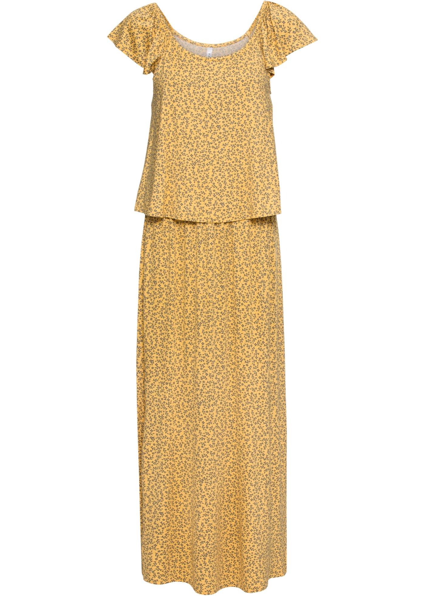Maxikleid kurzer Arm  in gelb (Rechteckiger Ausschnitt) für Damen von bonprix