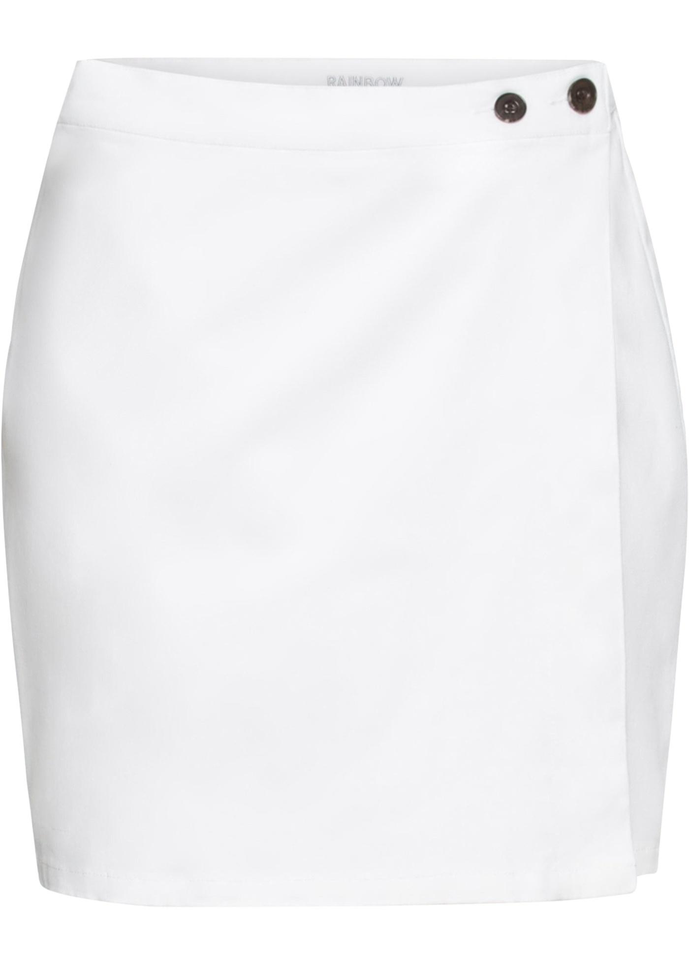 Twill-Rock mit Knöpfen in weiß für Damen von bonprix