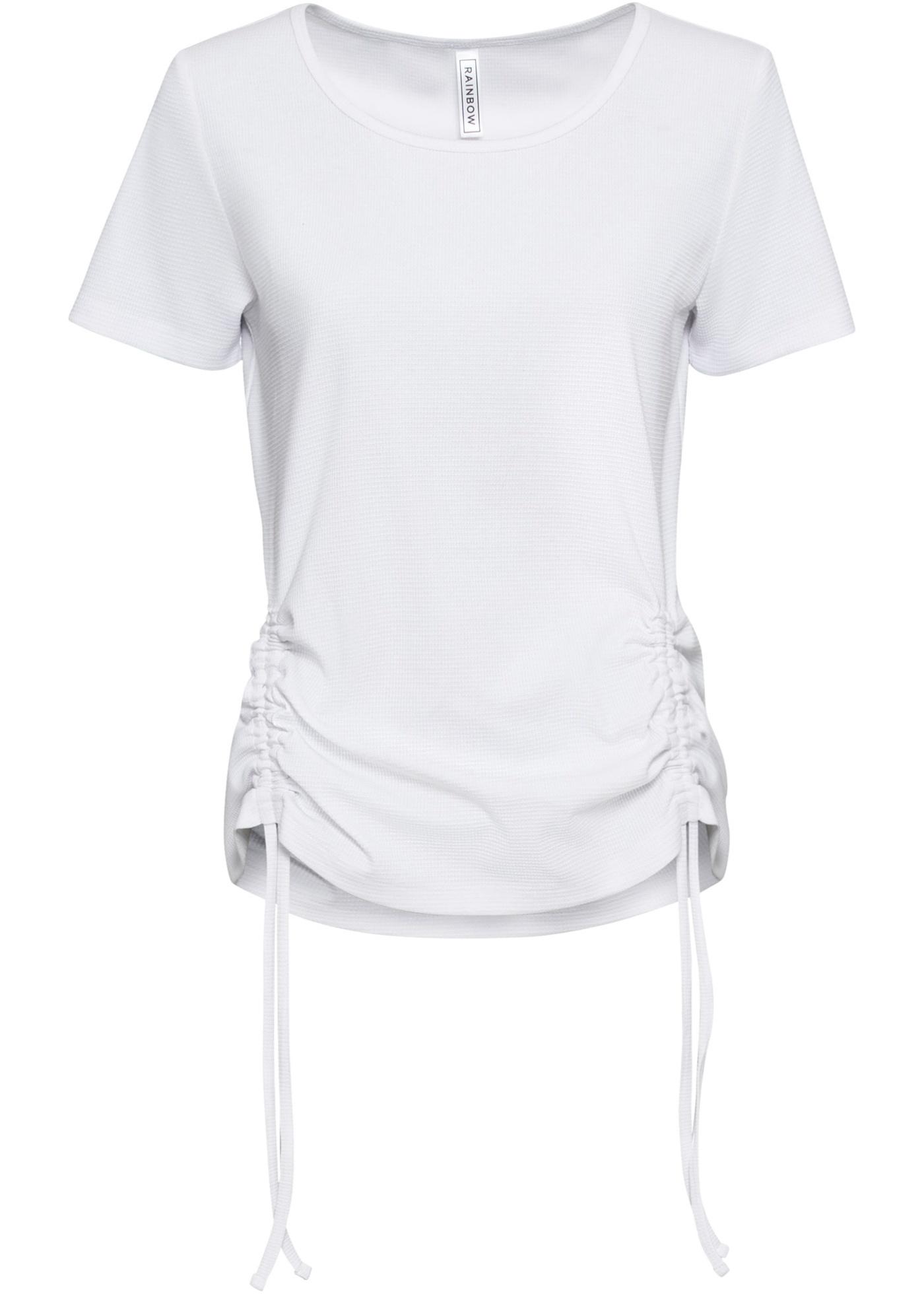 Shirt mit Raffung kurzer Arm  in weiß für Damen von bonprix