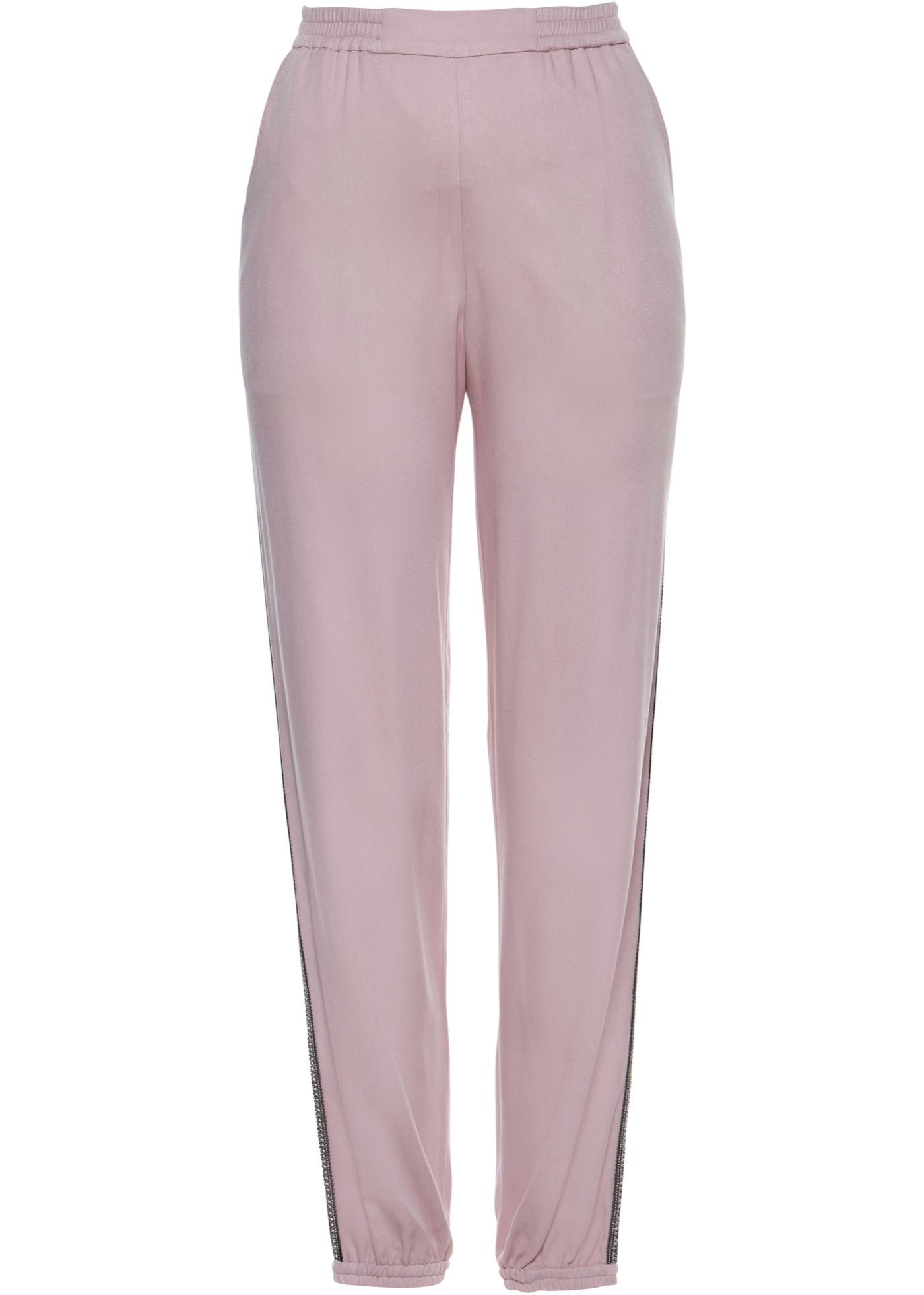 Hose mit Applikationsband in lila für Damen von bonprix