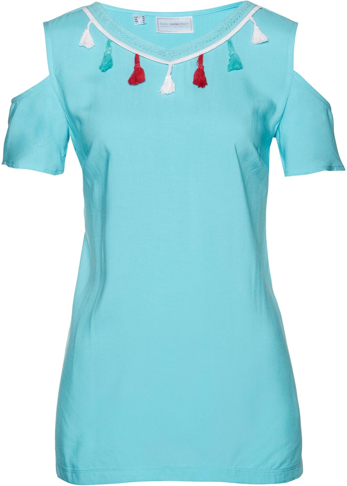 Tunikabluse kurzer Arm  in blau für Damen von bonprix