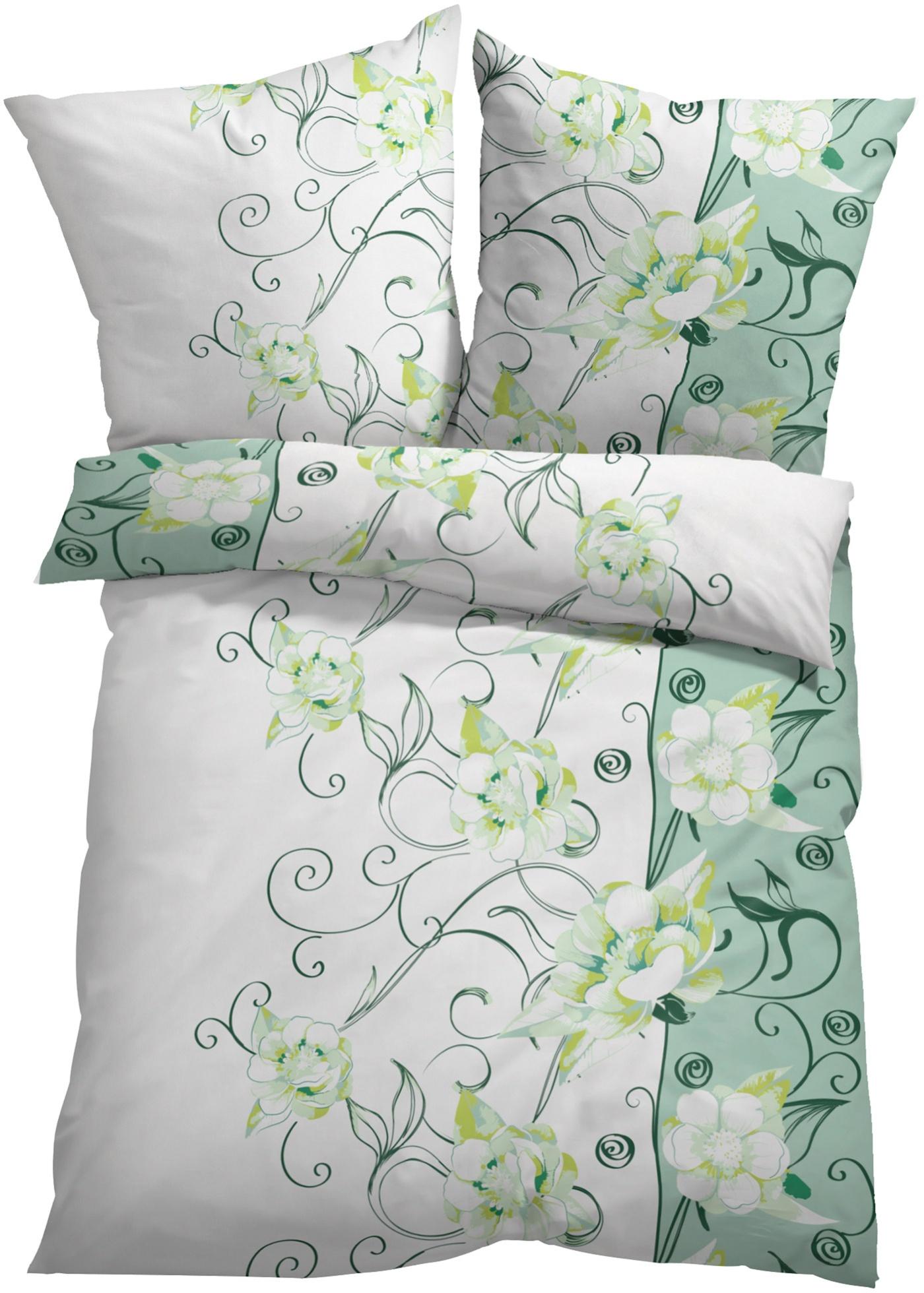 Bettwäsche mit Ranken in grün von bonprix