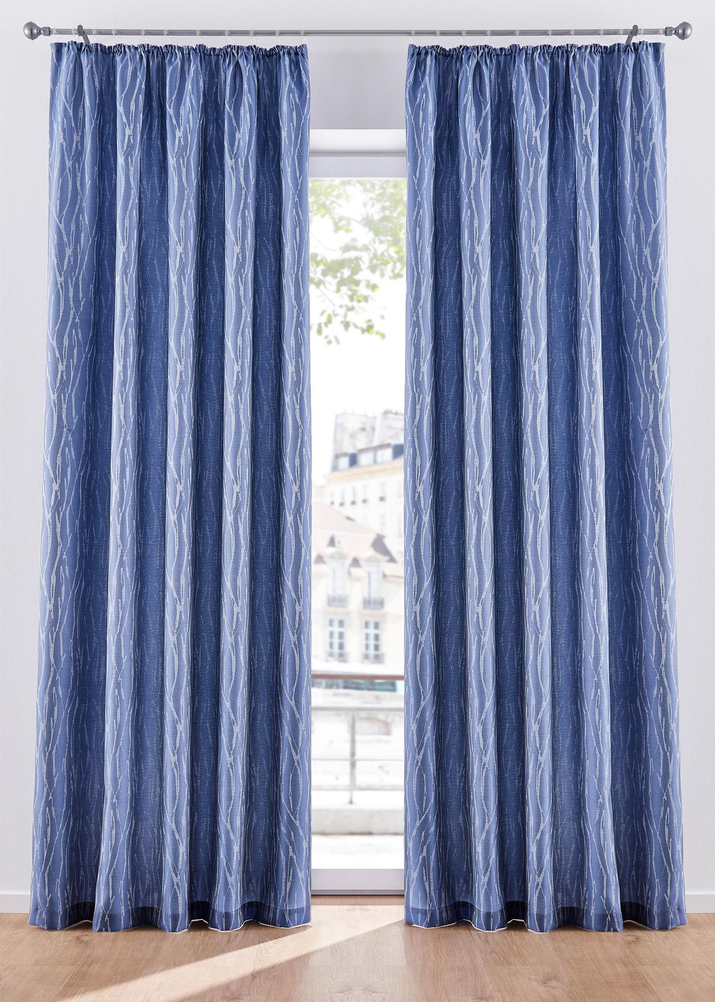 Jacquard Vorhang mit Druck (1er Pack) in blau von bonprix