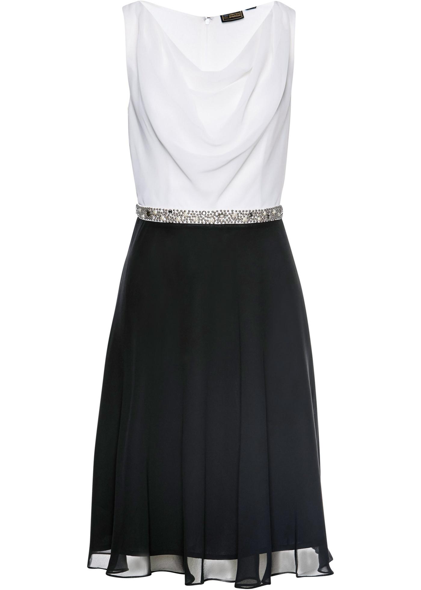 kleid mit perlenapplikation ohne Ärmel in schwarz für damen