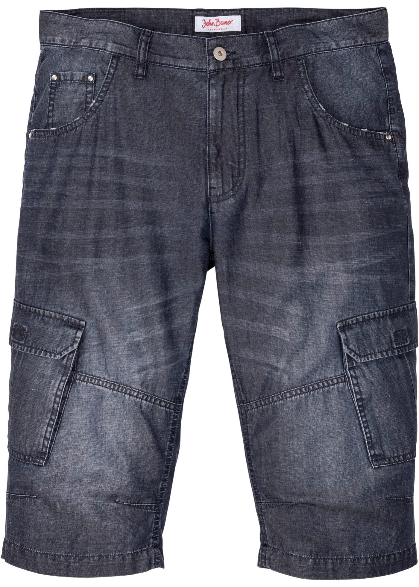 Nachhaltige Regular Fit Jeans-Bermuda mit TENCEL™ und Leinen in blau für Herren von bonprix