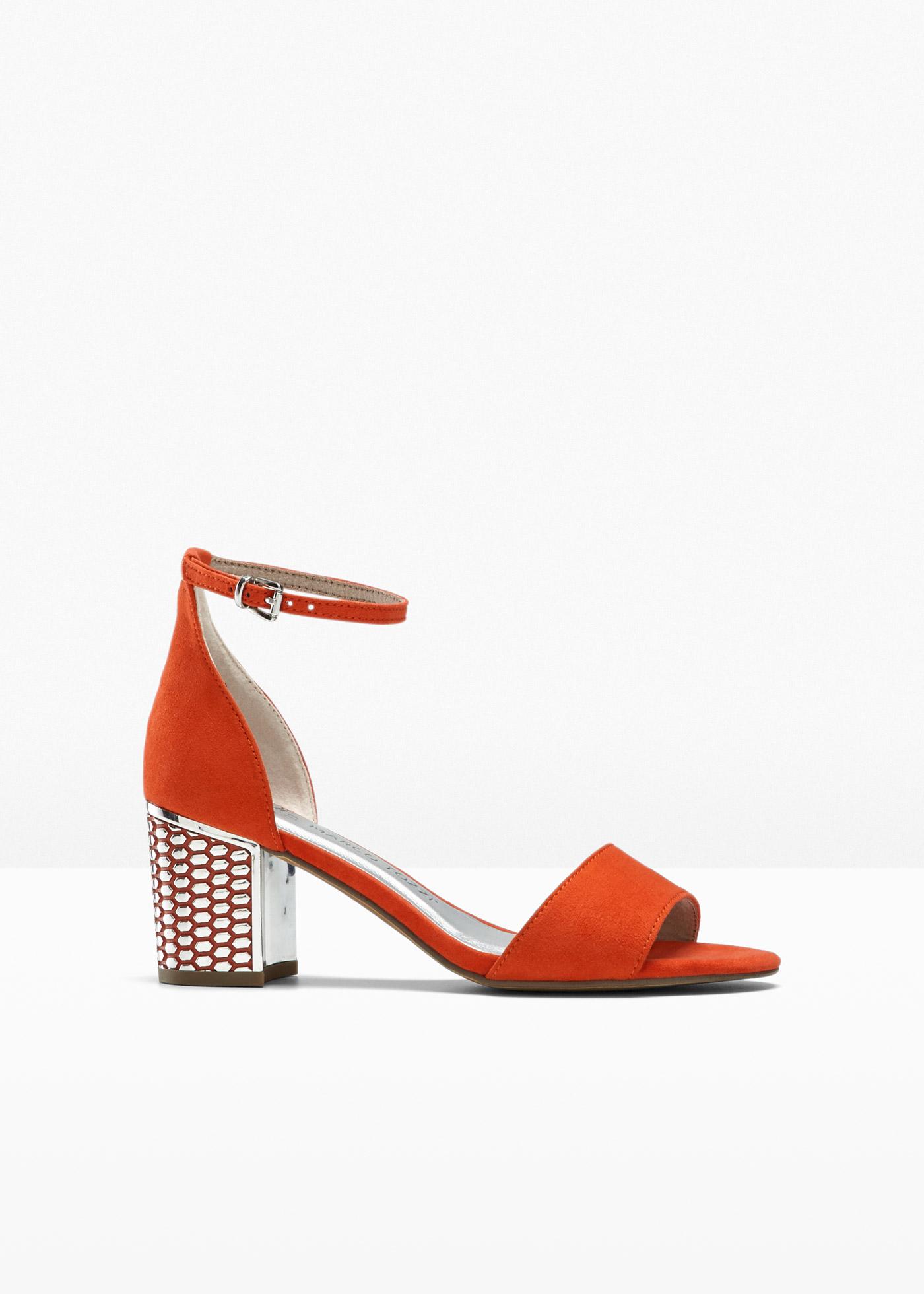 Sandalette von Marco Tozzi mit 6 cm Blockabsatz in orange von bonprix