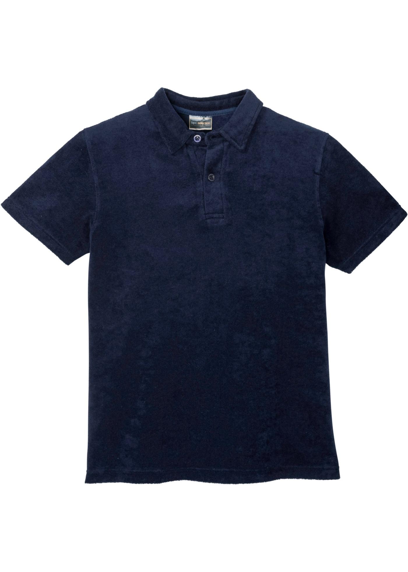 Poloshirt Frottier kurzer Arm  in blau für Herren von bonprix
