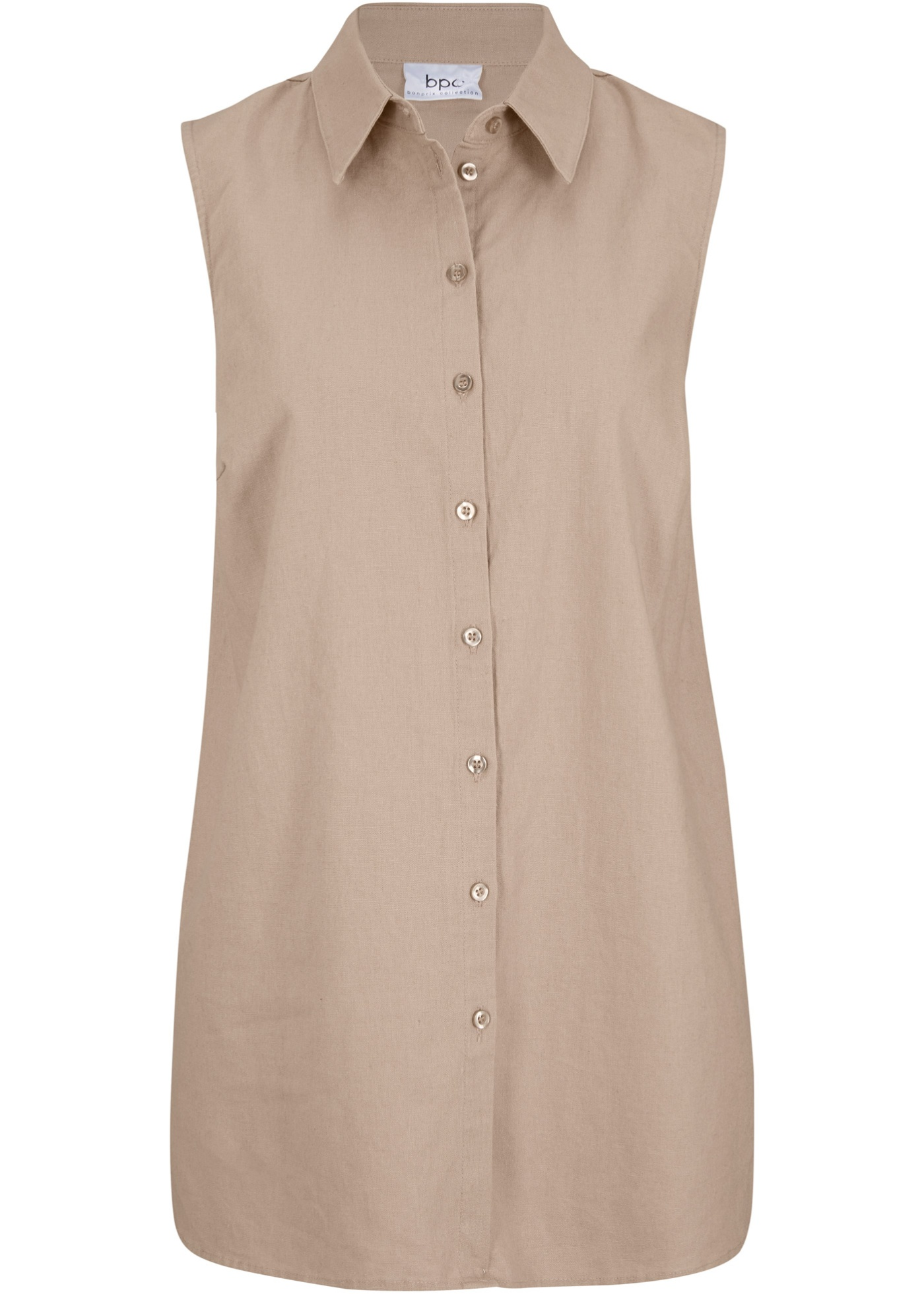 Ärmellose Bluse aus Leinen ohne Ärmel  in braun für Damen von bonprix