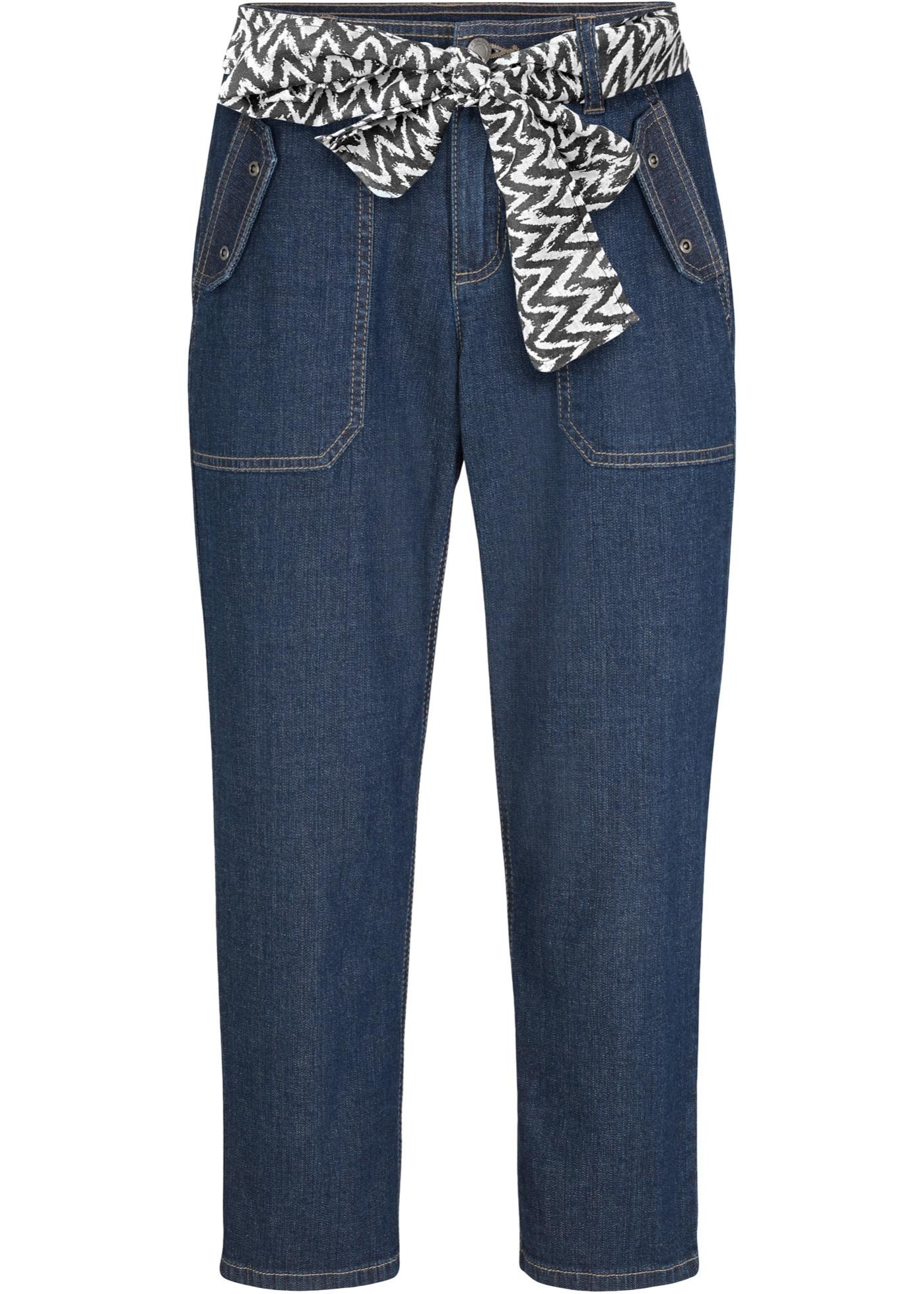 Stretch-Capri-Jeans mit Tuchgürtel in blau für Damen von bonprix