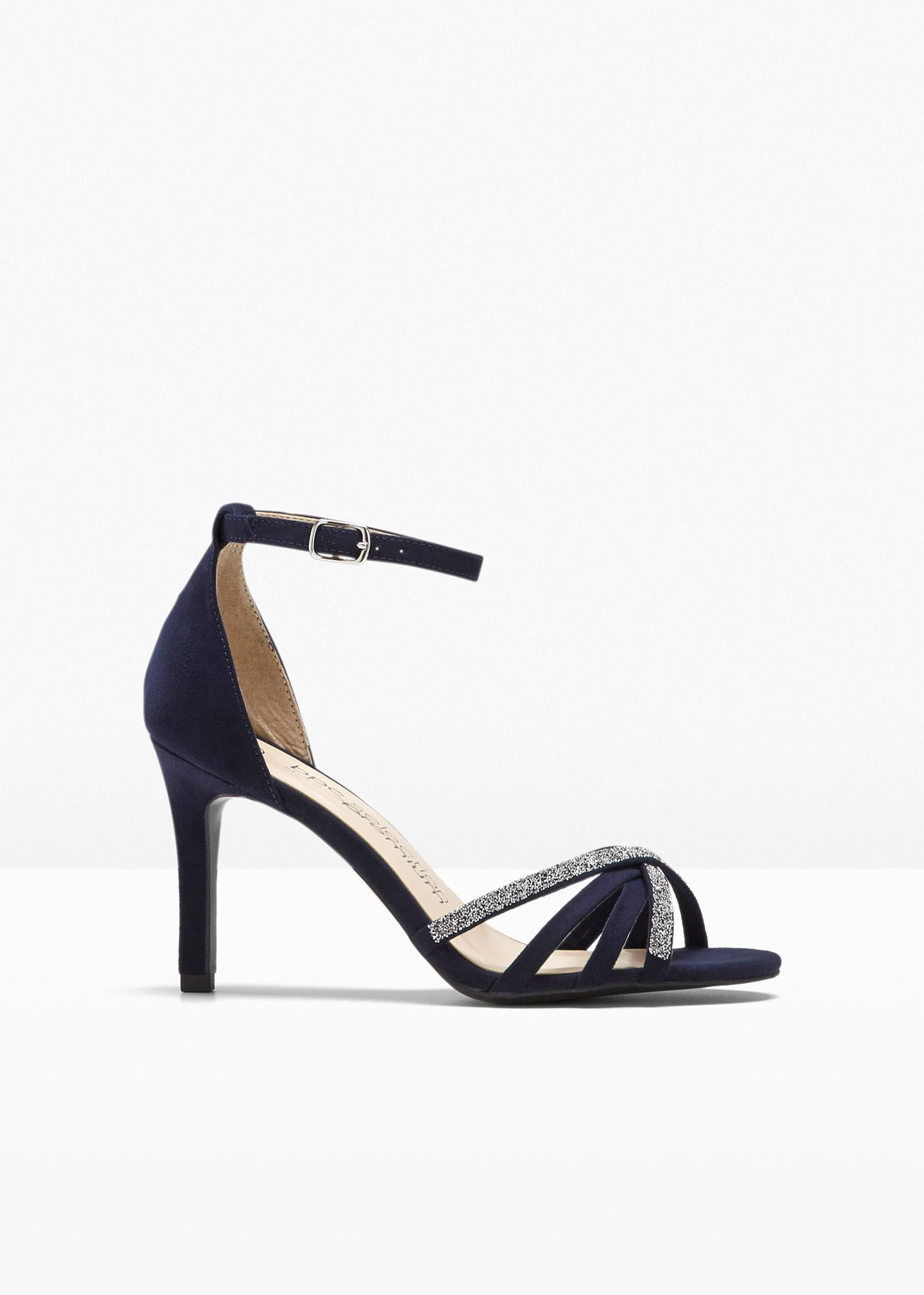 Sandalette veredelt mit Swarovski® Kristallen mit 8 cm Trichterabsatz in blau von bonprix