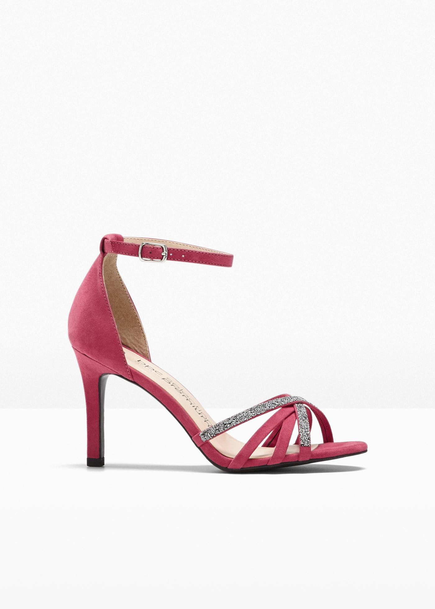 Sandalette veredelt mit Swarovski® Kristallen mit 8 cm Trichterabsatz in pink von bonprix