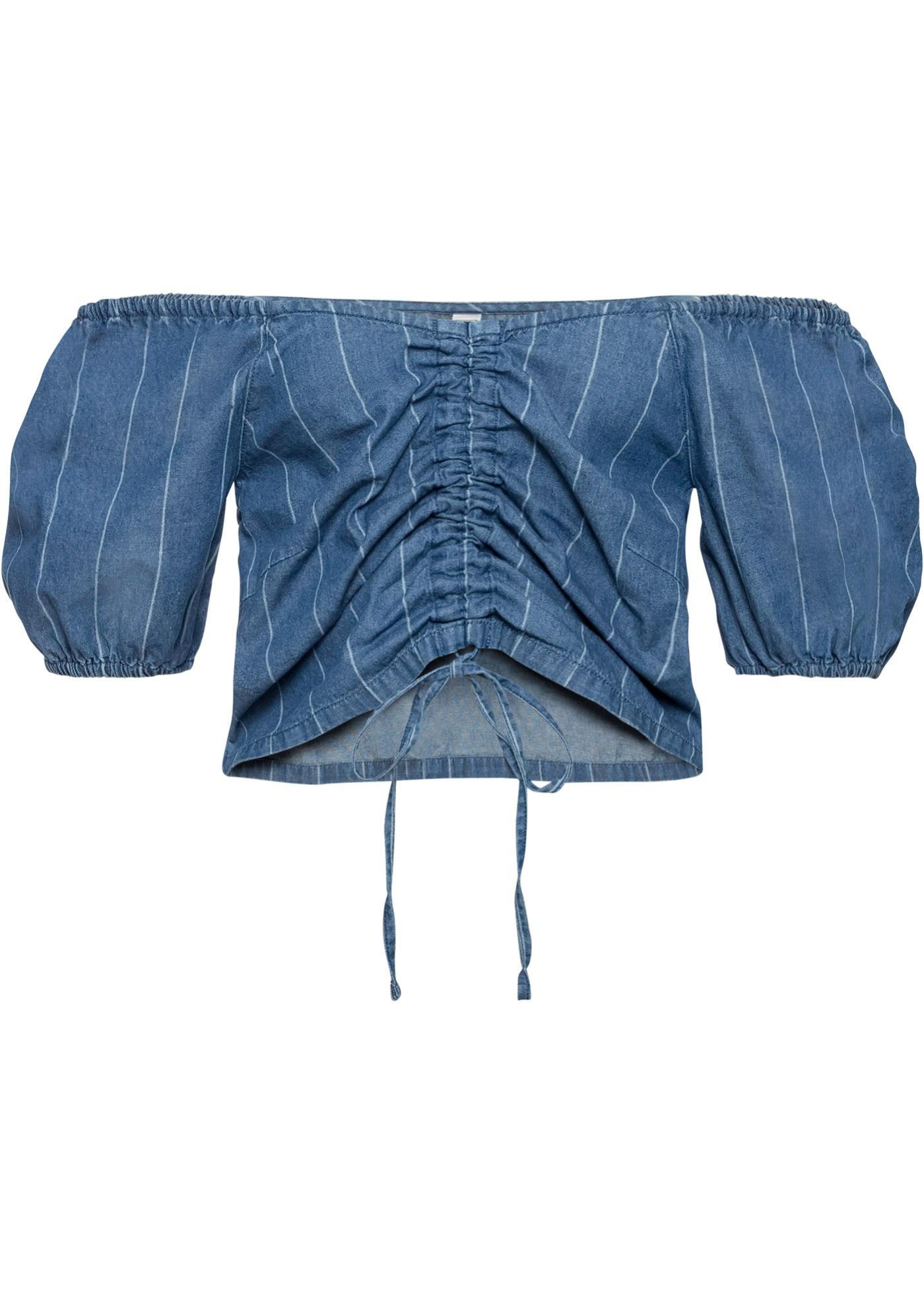 Carmenbluse mit Raffung in blau für Damen von bonprix