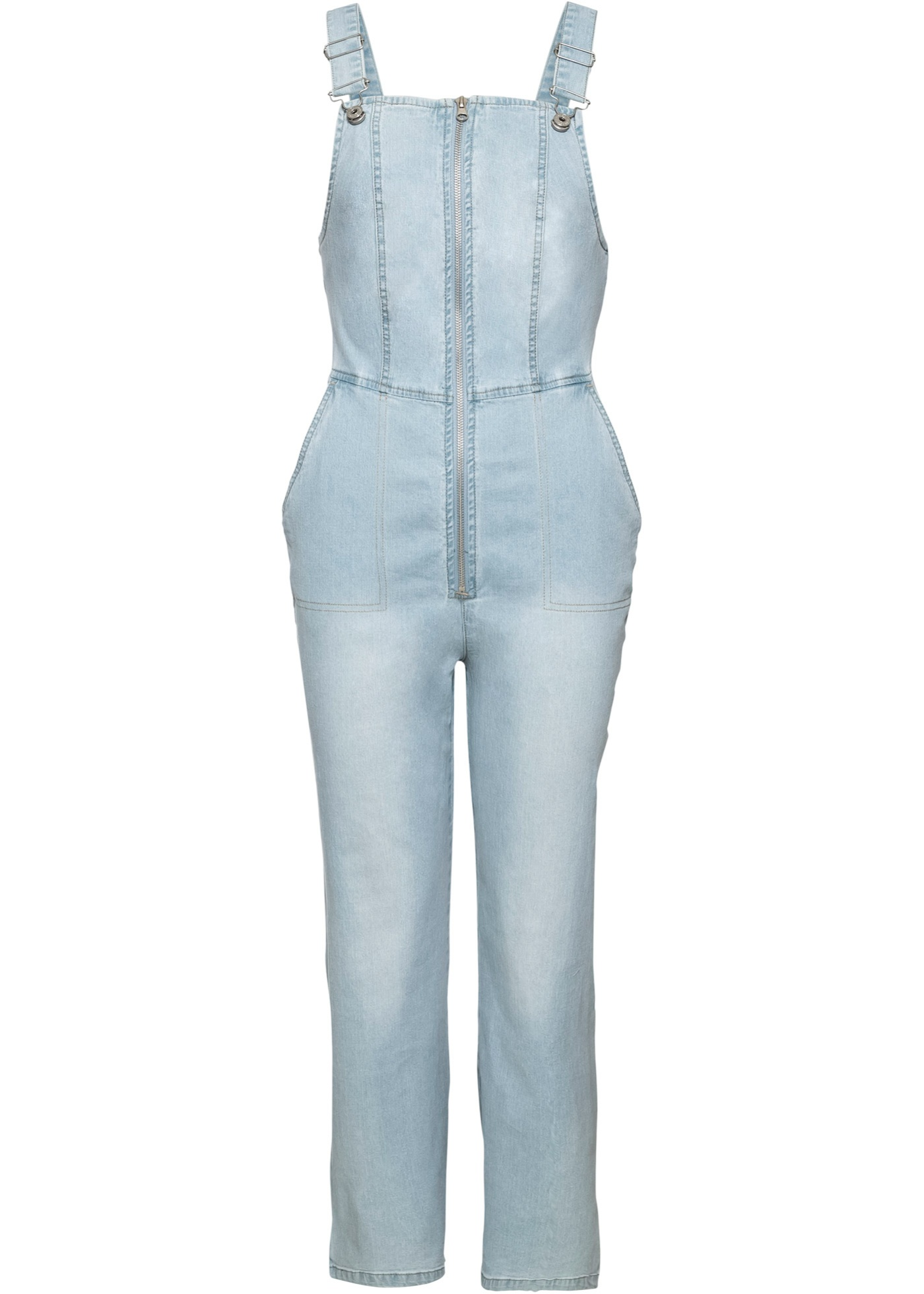 Jeans-Jumpsuit mit Reißverschluss ohne Ärmel  in blau für Damen von bonprix