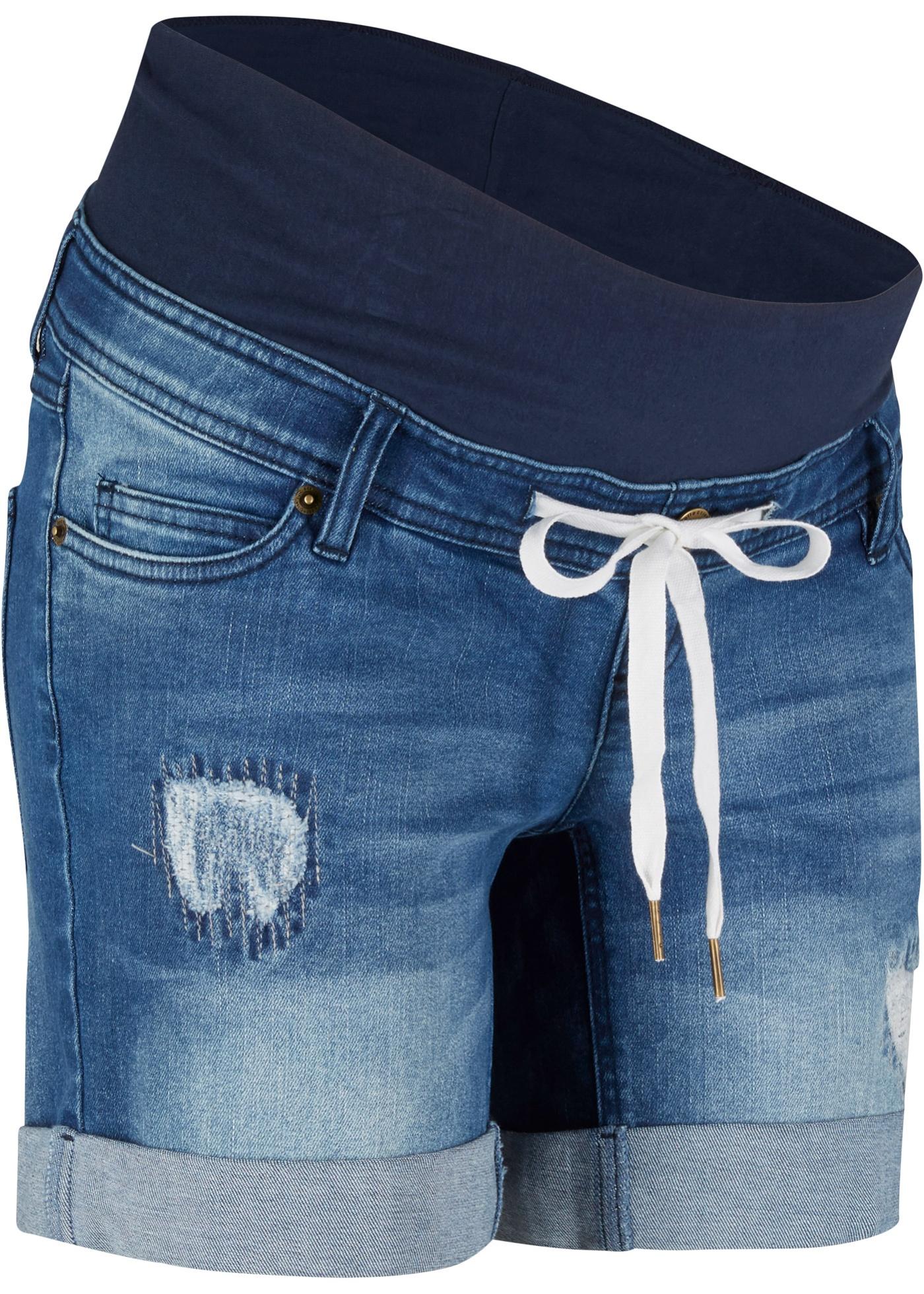 Umstands-Jeans-Shorts mit Bindeband in blau für Damen von bonprix