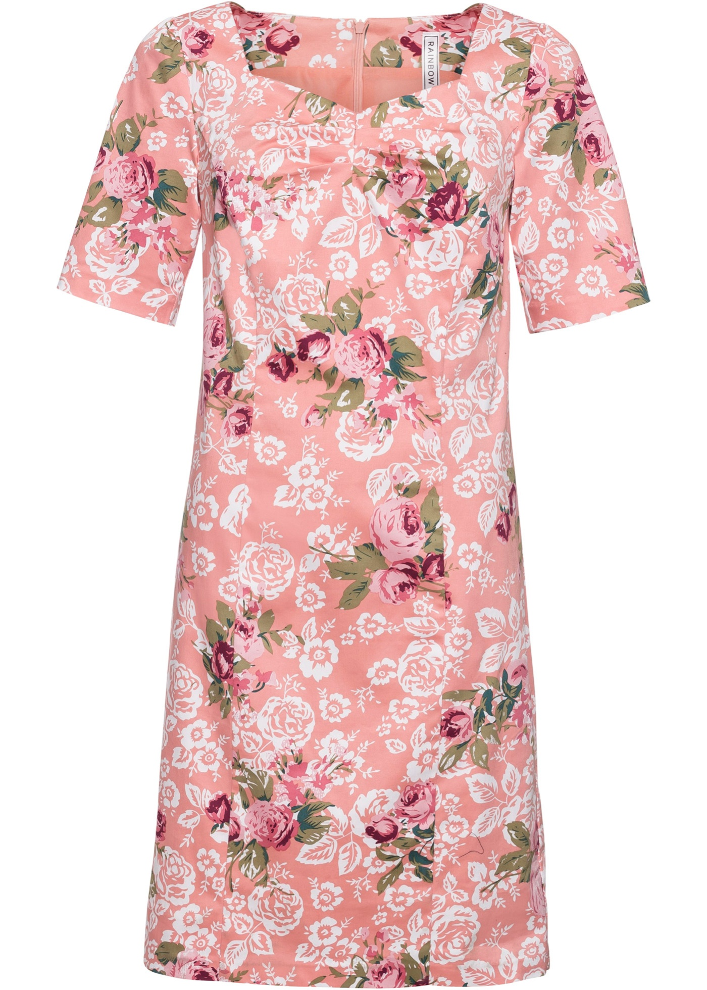 Kleid mit Blumenprint kurzer Arm  in rosa für Damen von bonprix