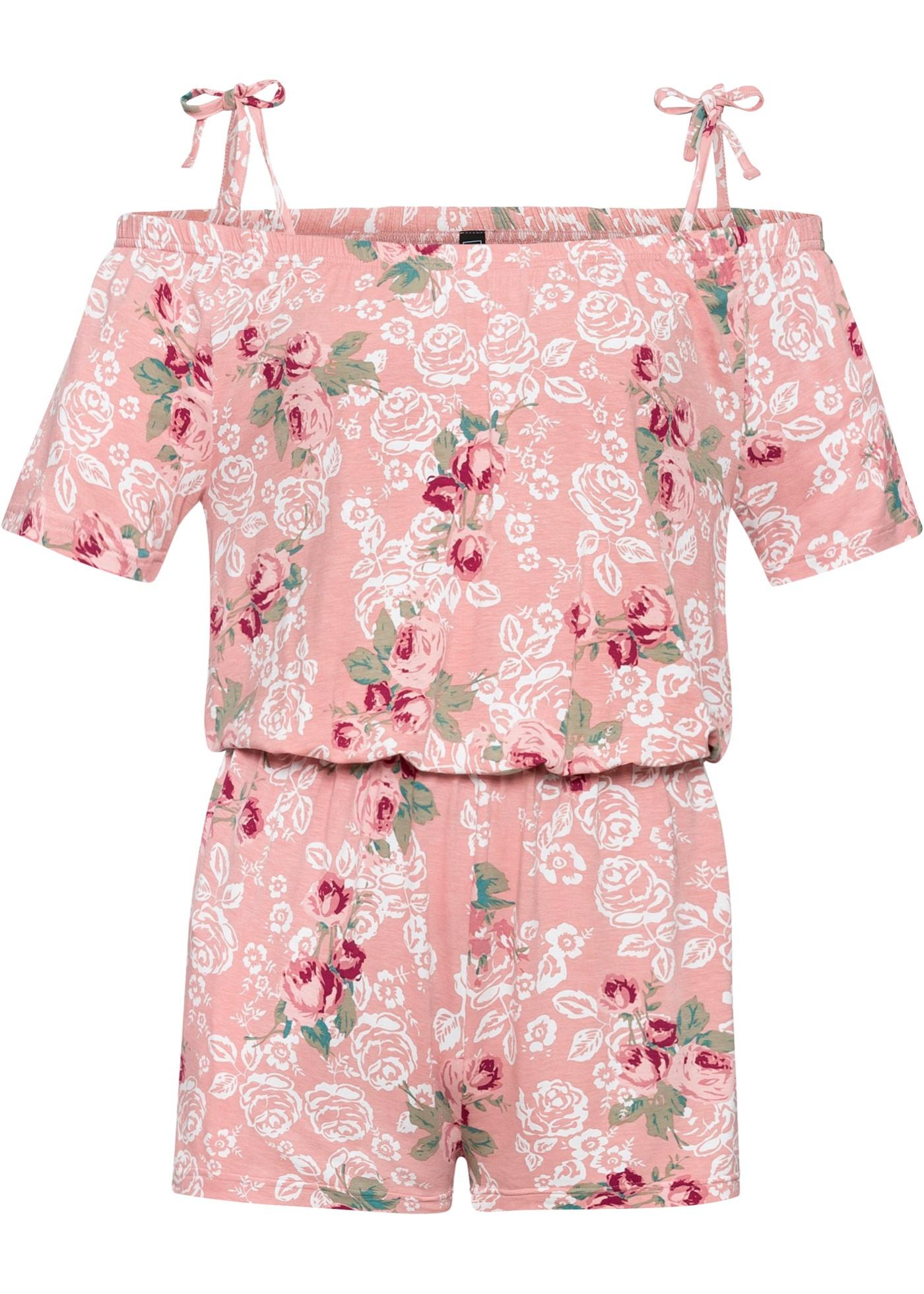 Jumpsuit mit Blumen kurzer Arm  in rosa für Damen von bonprix