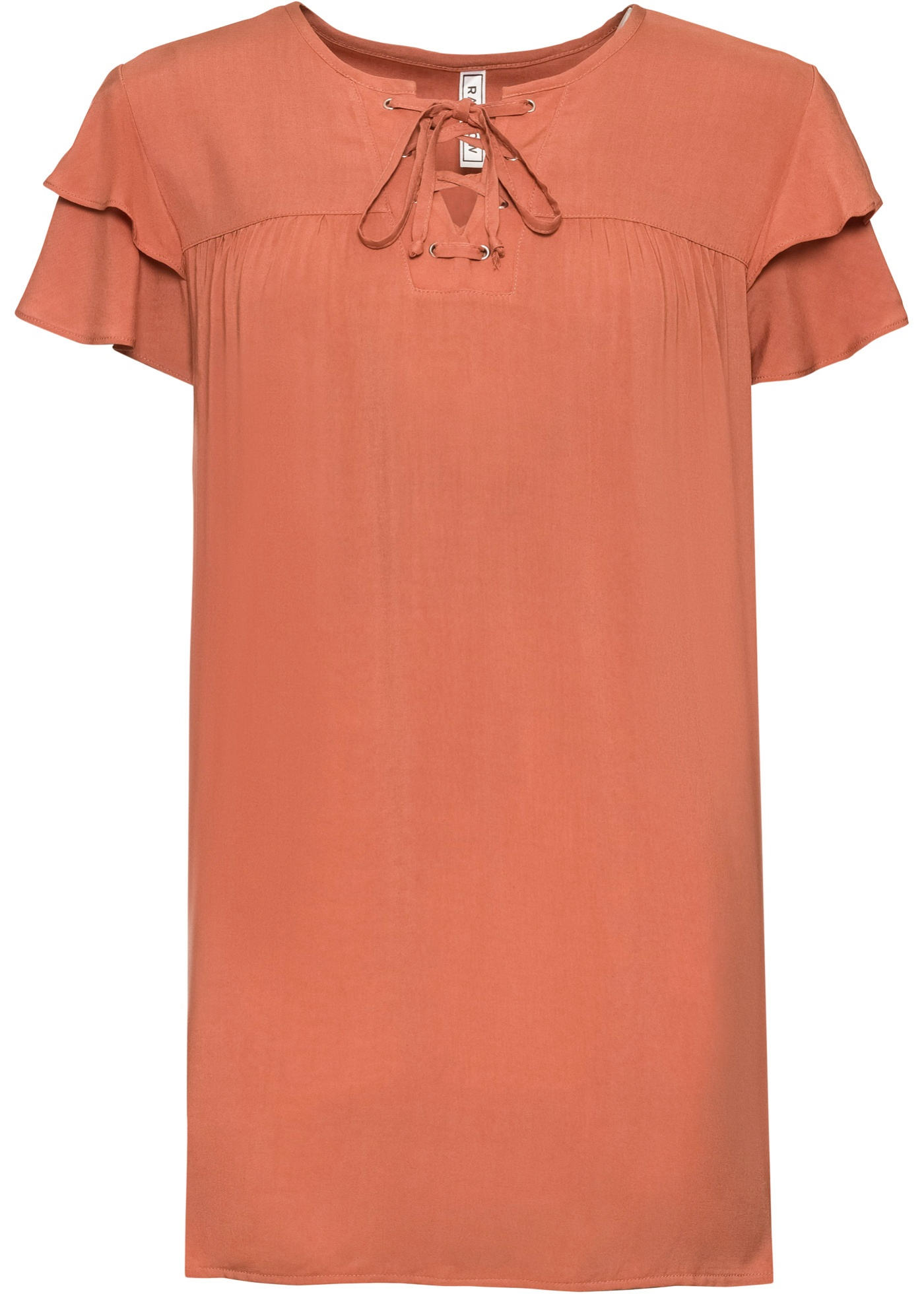 Longbluse mit Schnürung Flügelärmel  in orange für Damen von bonprix