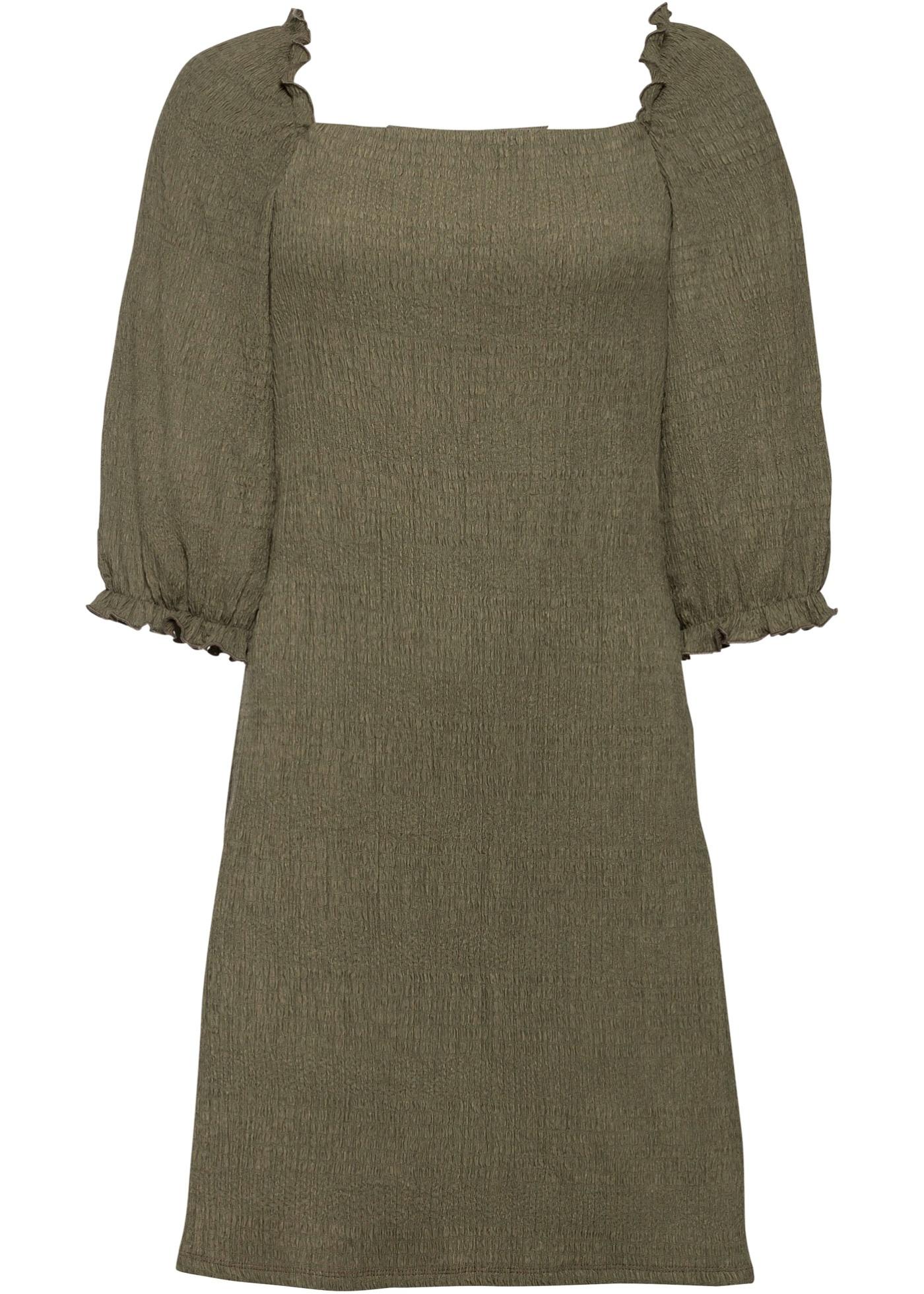Kleid mit Puffärmeln kurzer Arm  in grün für Damen von bonprix