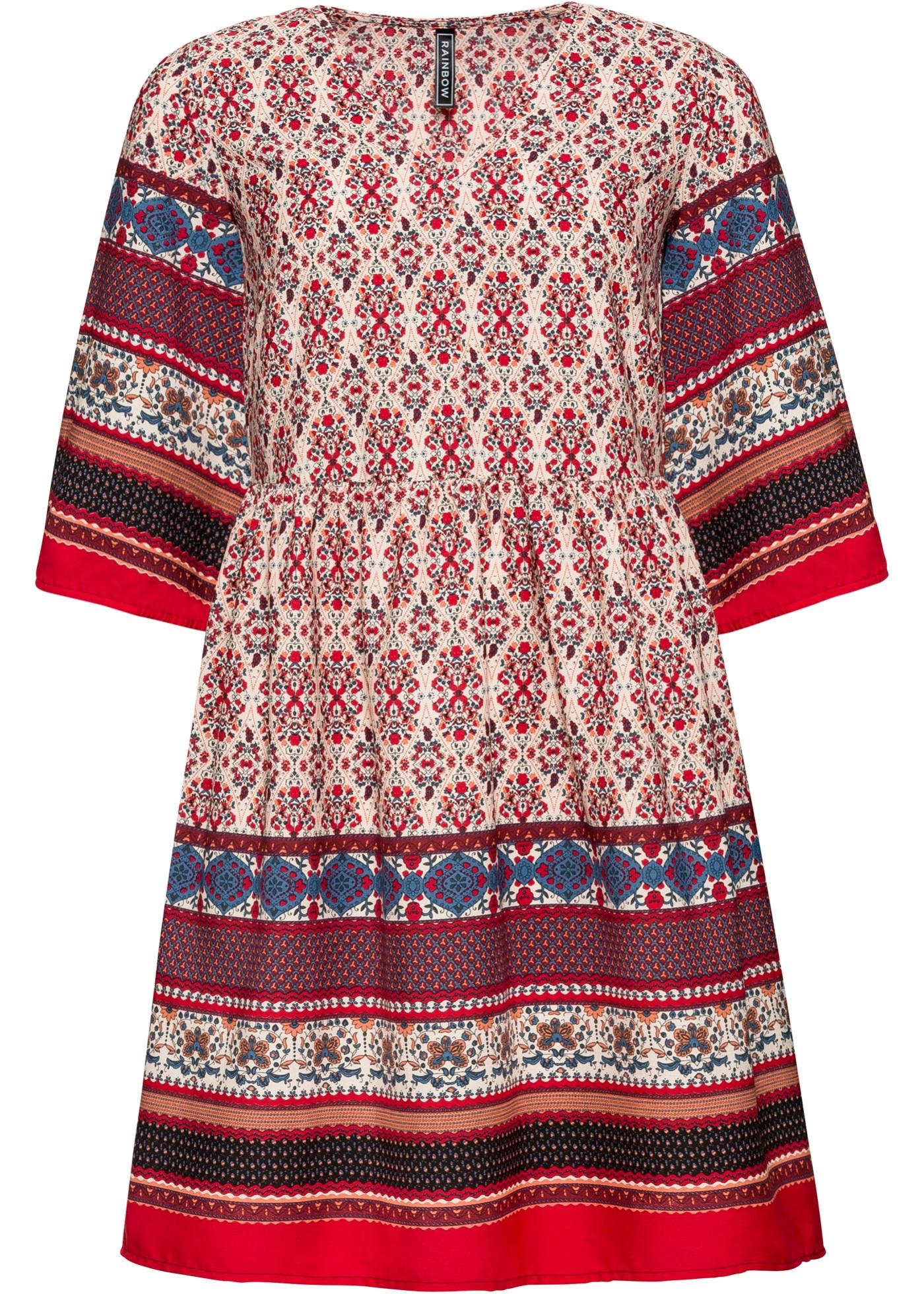 gemustertes Kleid mit V-Ausschnitt halber Arm  in rot für Damen von bonprix