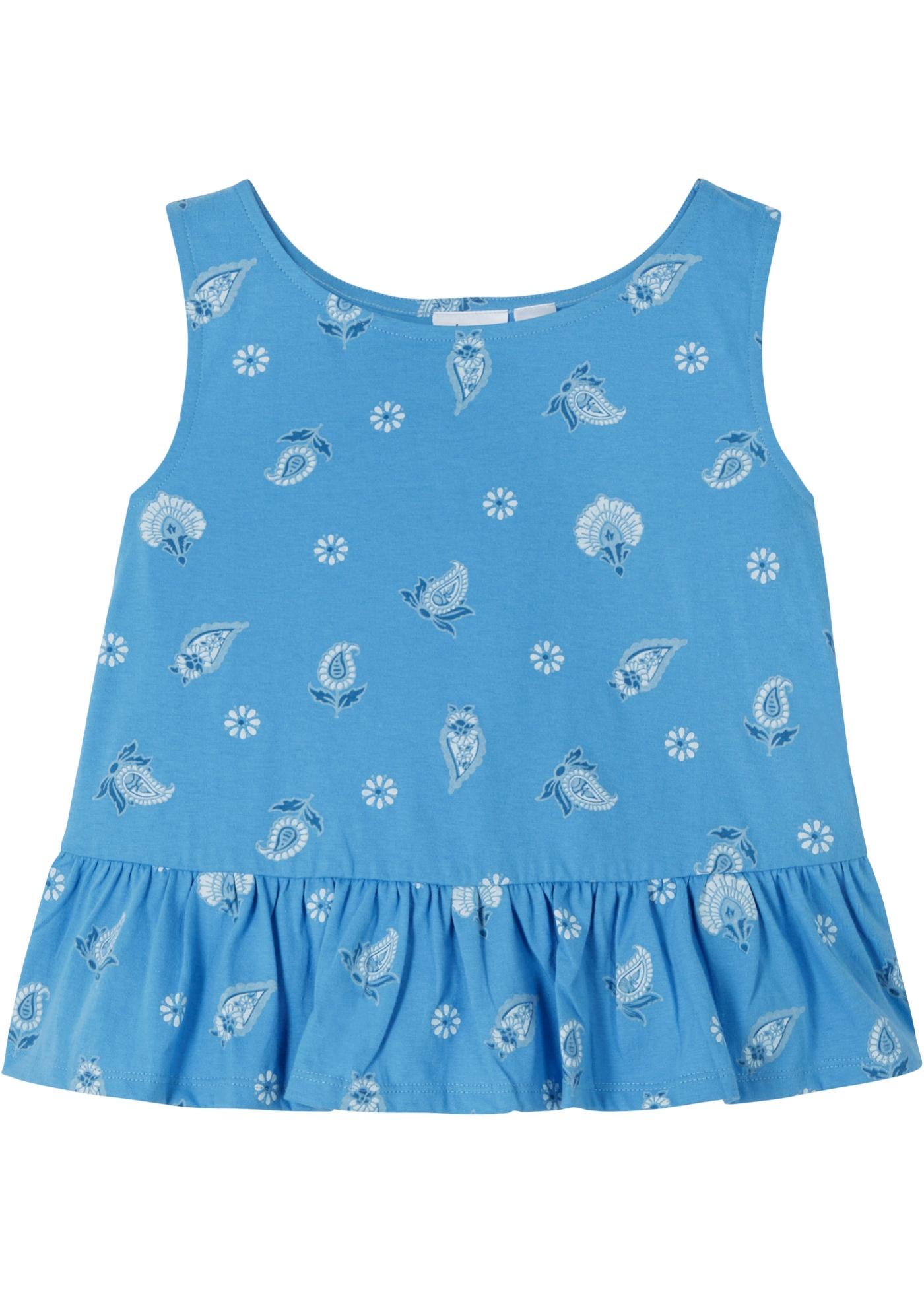 Mädchen Top mit Volant ohne Ärmel  in blau für Mädchen von bonprix