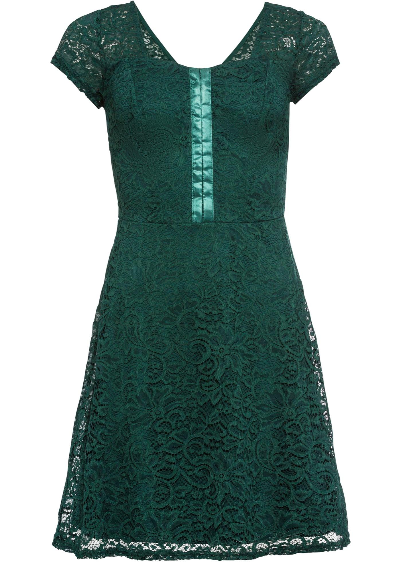 Kleid mit Spitze und Applikation kurzer Arm  in grün für Damen von bonprix