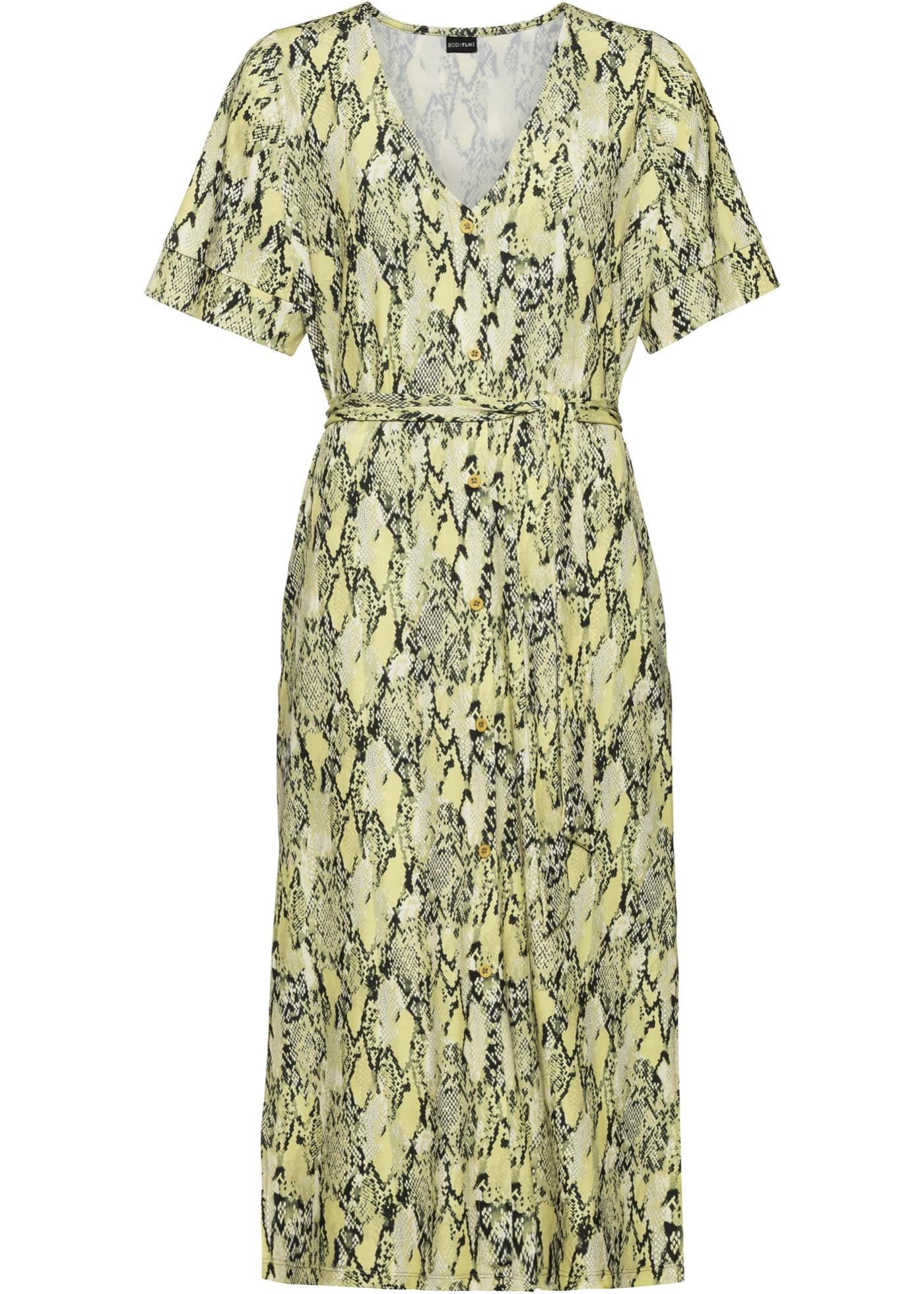 Blusenkleid mit Gürtel halber Arm  in grün für Damen von bonprix