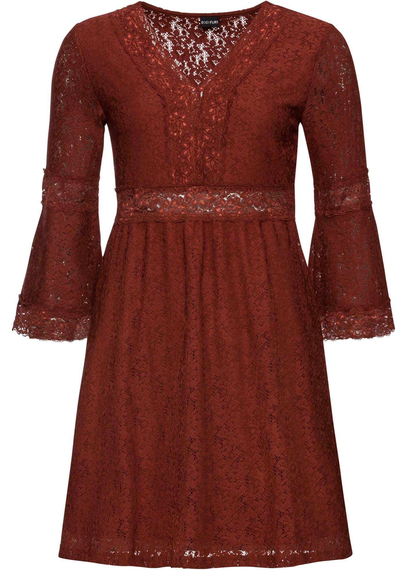 Kleid aus Spitze 7/8 Arm  in braun für Damen von bonprix