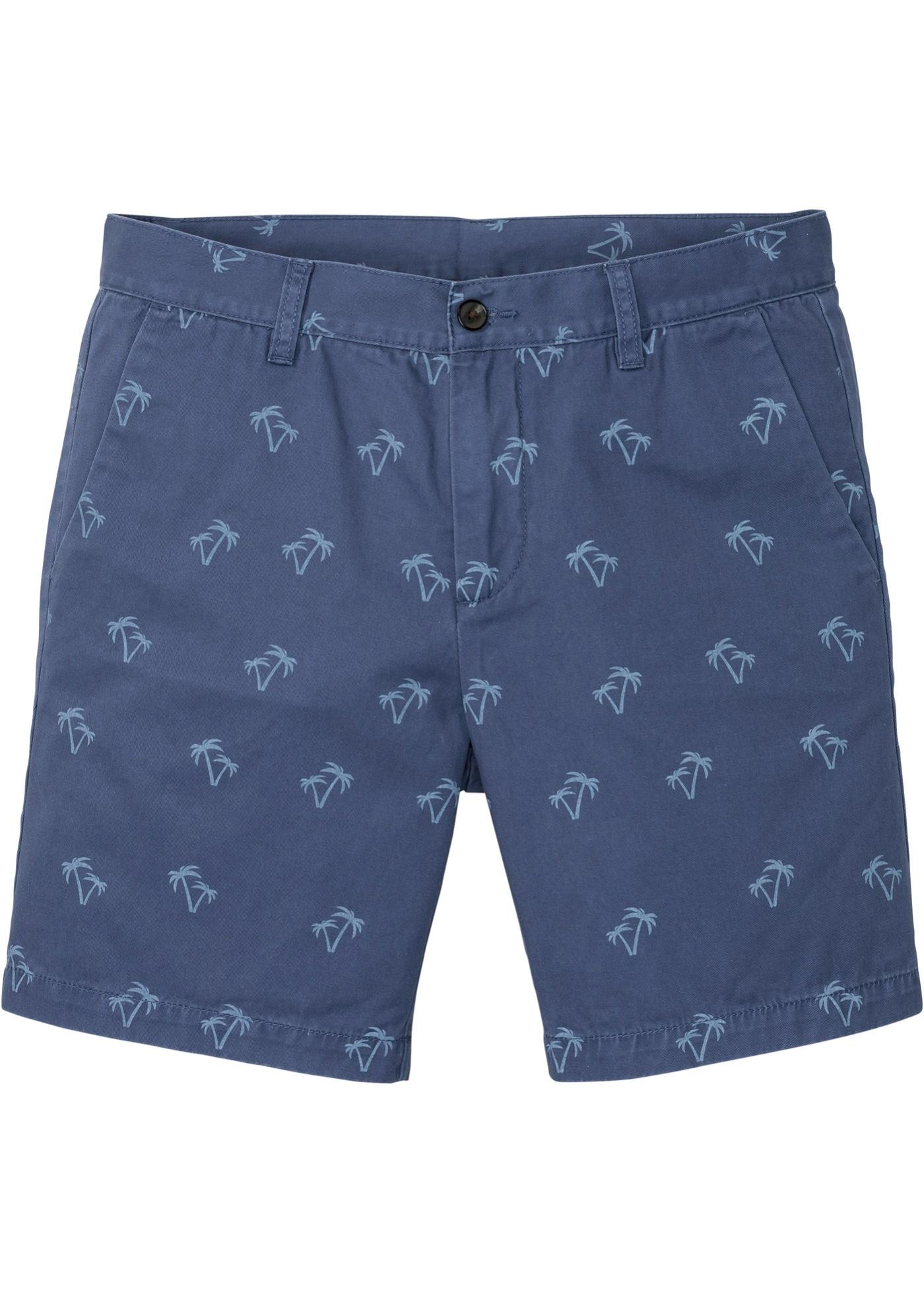 Chino-Longshorts bedruckt in blau für Herren von bonprix