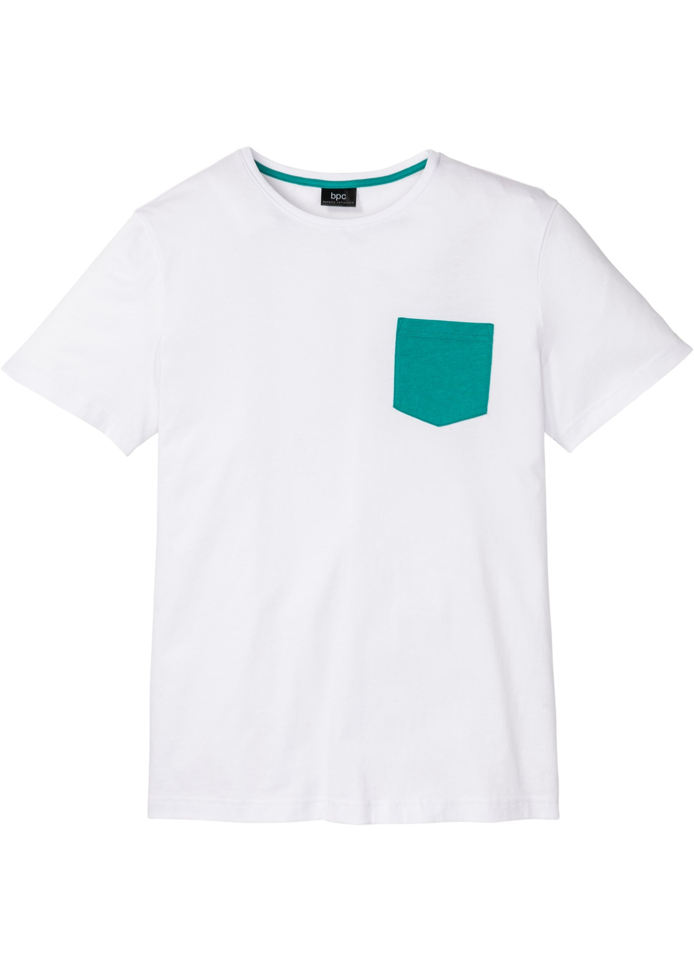 T-Shirt mit Kontrasttasche kurzer Arm  in weiß für Herren von bonprix