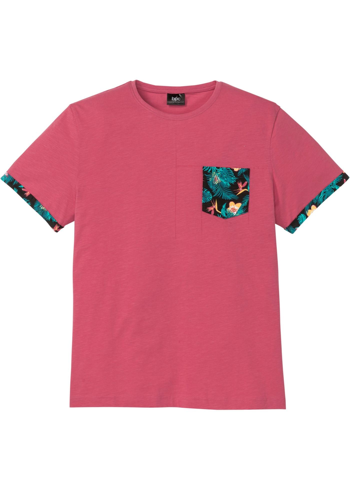 T-Shirt mit bedruckter Tasche und Ärmelumschlag kurzer Arm  in rot für Herren von bonprix
