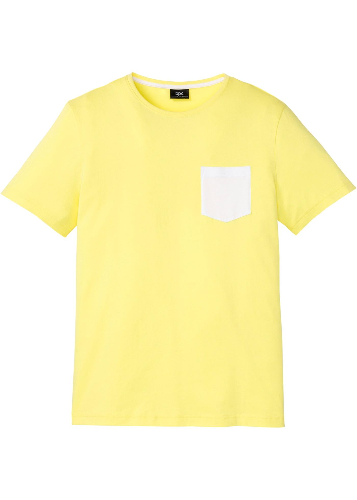 T-Shirt mit Kontrasttasche kurzer Arm  in gelb für Herren von bonprix