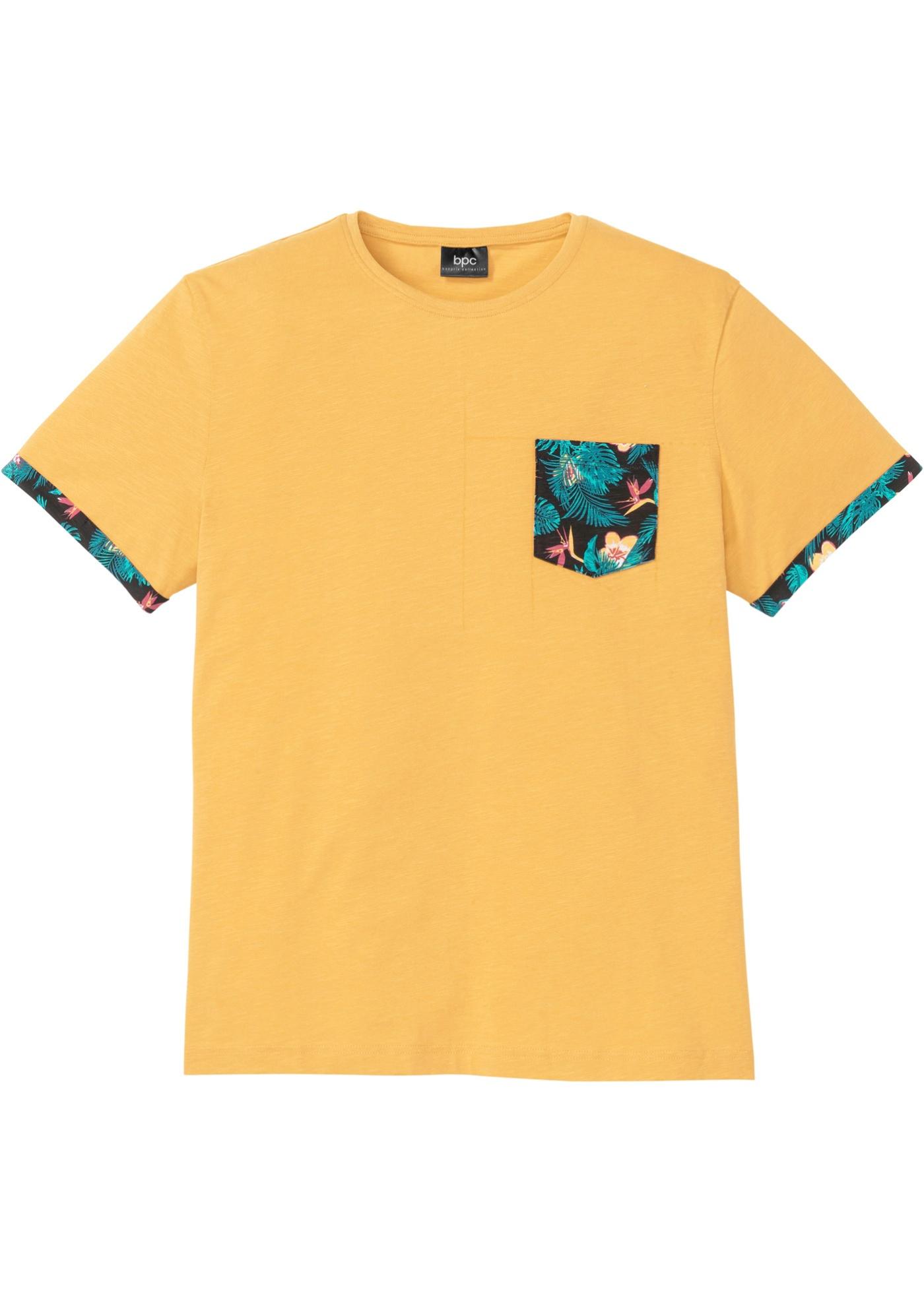 T-Shirt mit bedruckter Tasche und Ärmelumschlag kurzer Arm  in orange für Herren von bonprix