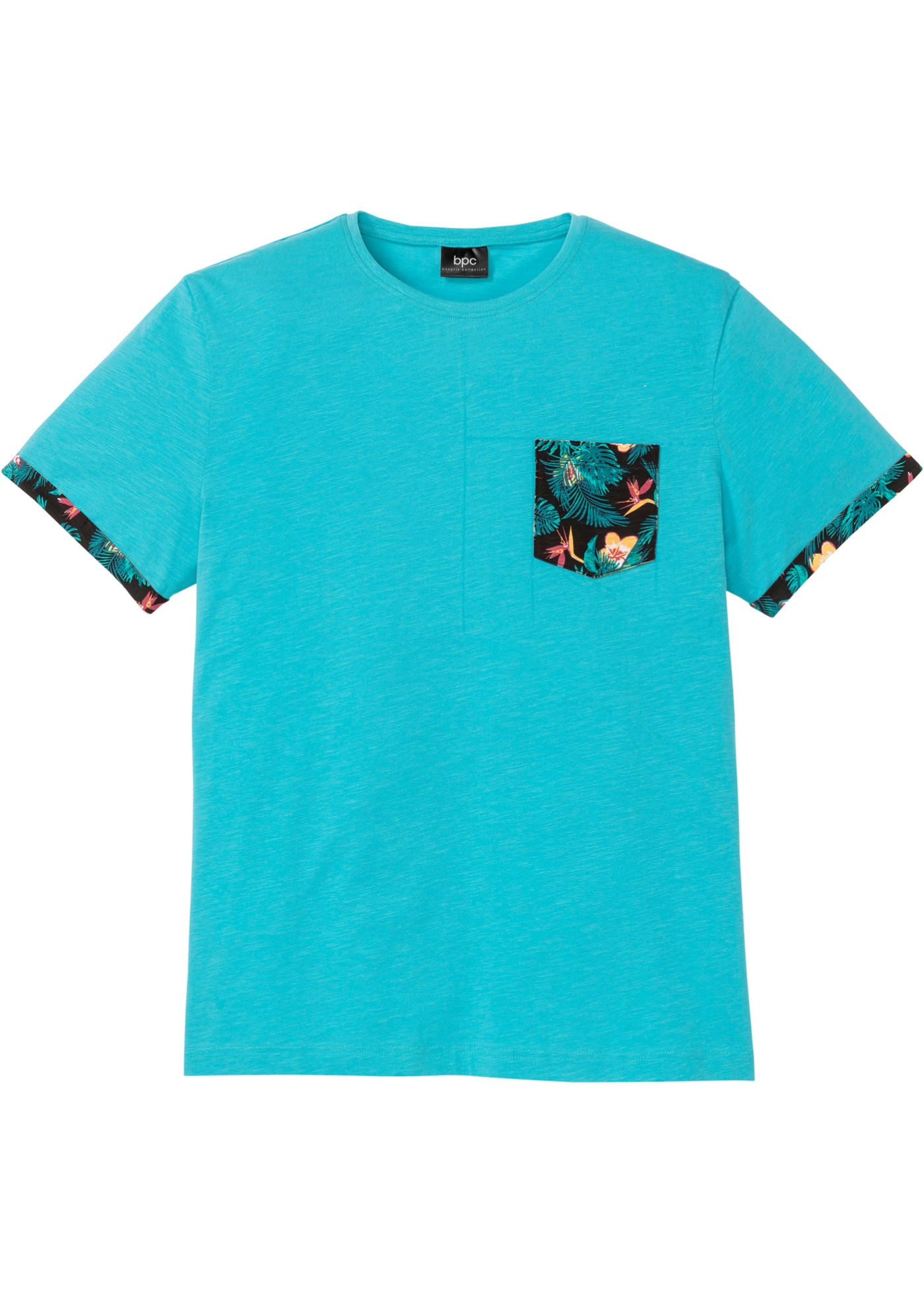 T-Shirt mit bedruckter Tasche und Ärmelumschlag kurzer Arm  in blau für Herren von bonprix