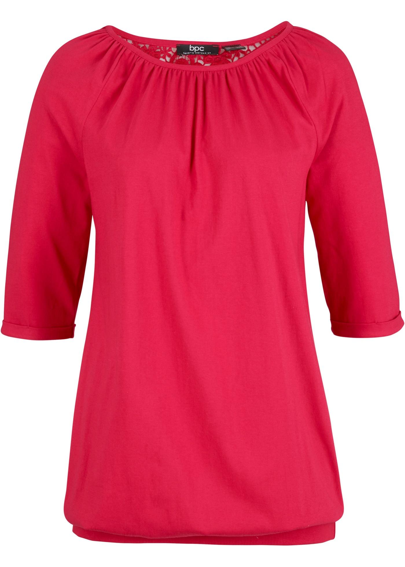 Baumwoll Shirt-Tunika mit Spitze am Rücken
