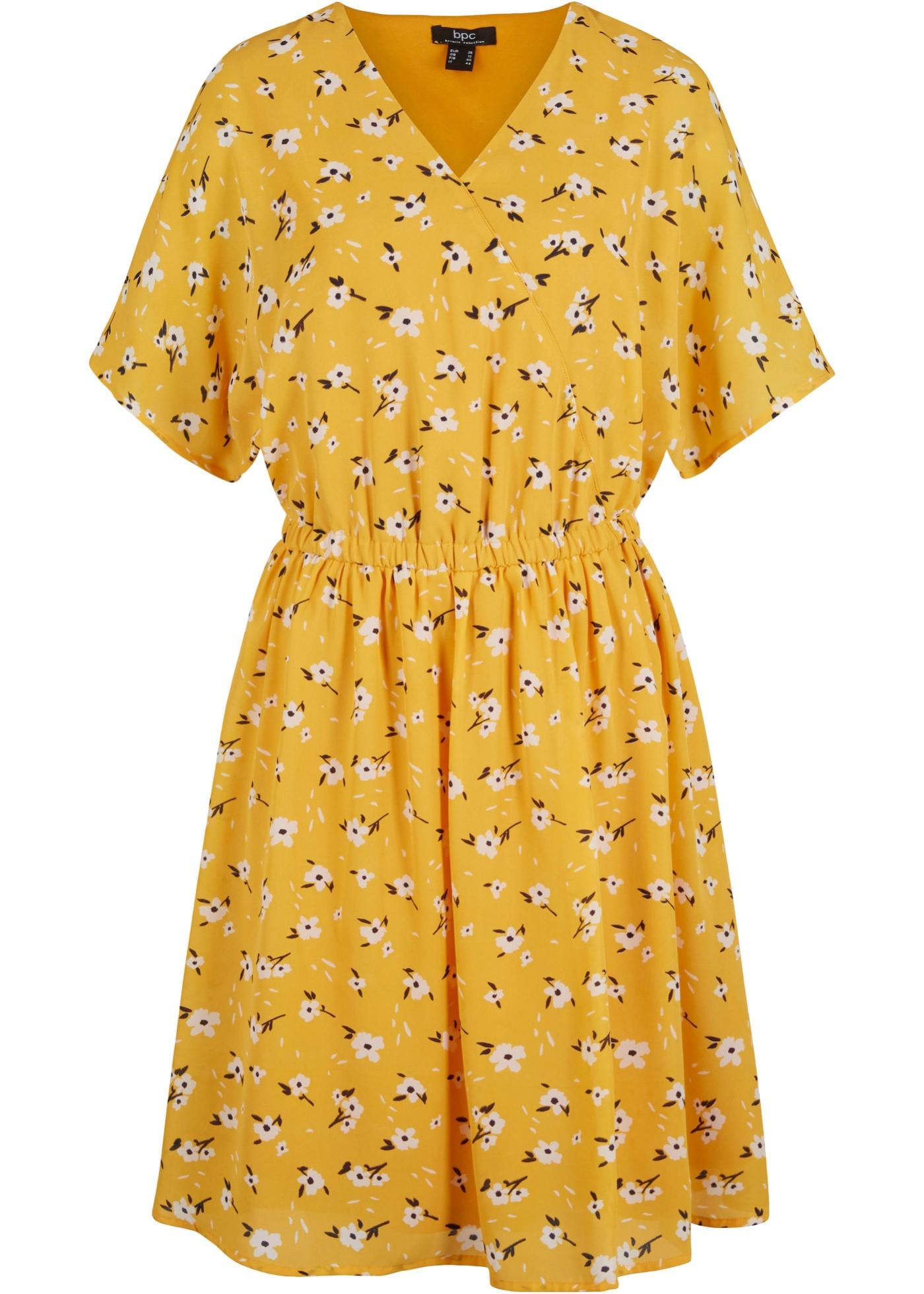 Georgette-Kleid mit Futter kurzer Arm  in gelb für Damen von bonprix