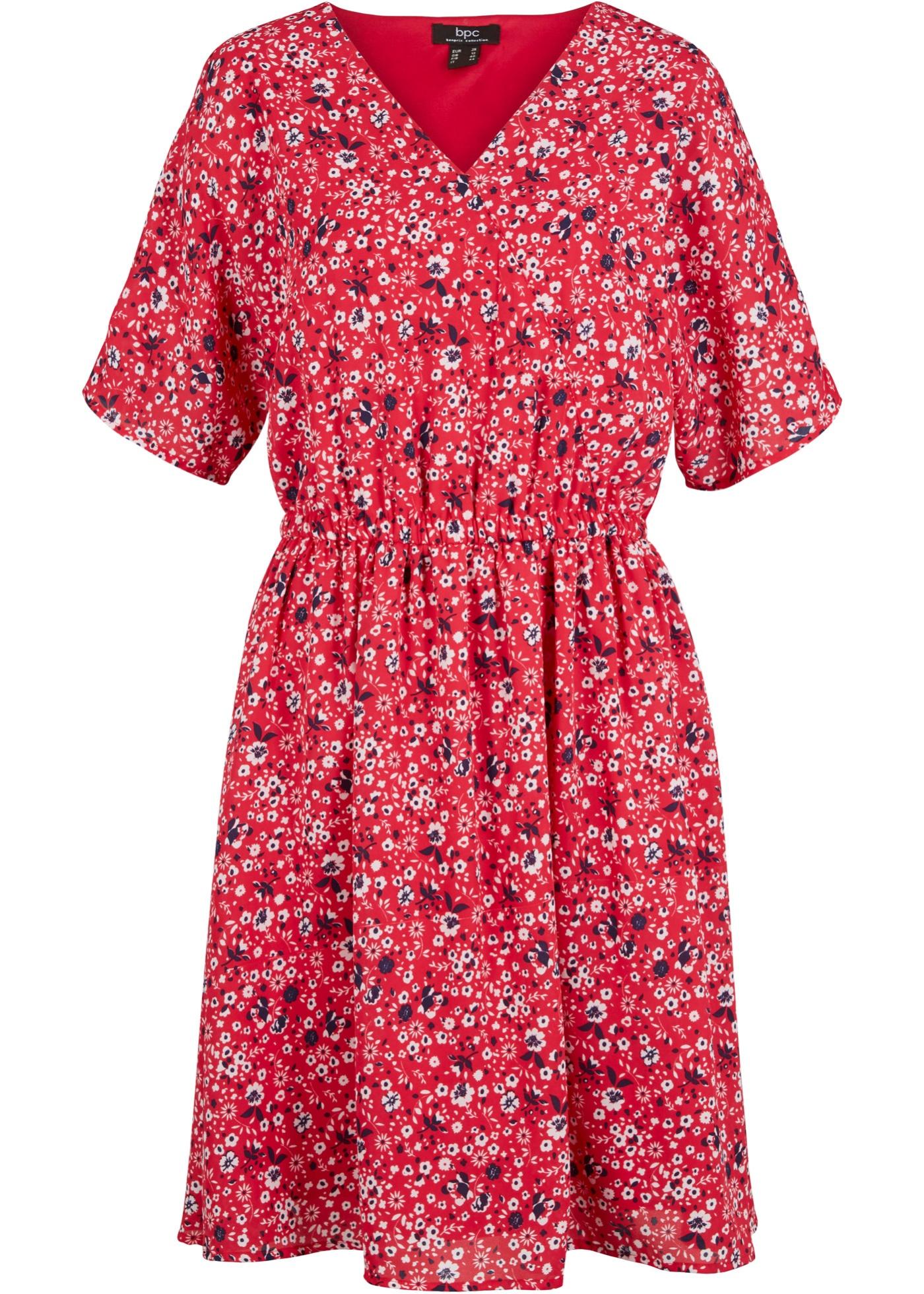 Georgette-Kleid mit Futter kurzer Arm  in rot für Damen von bonprix