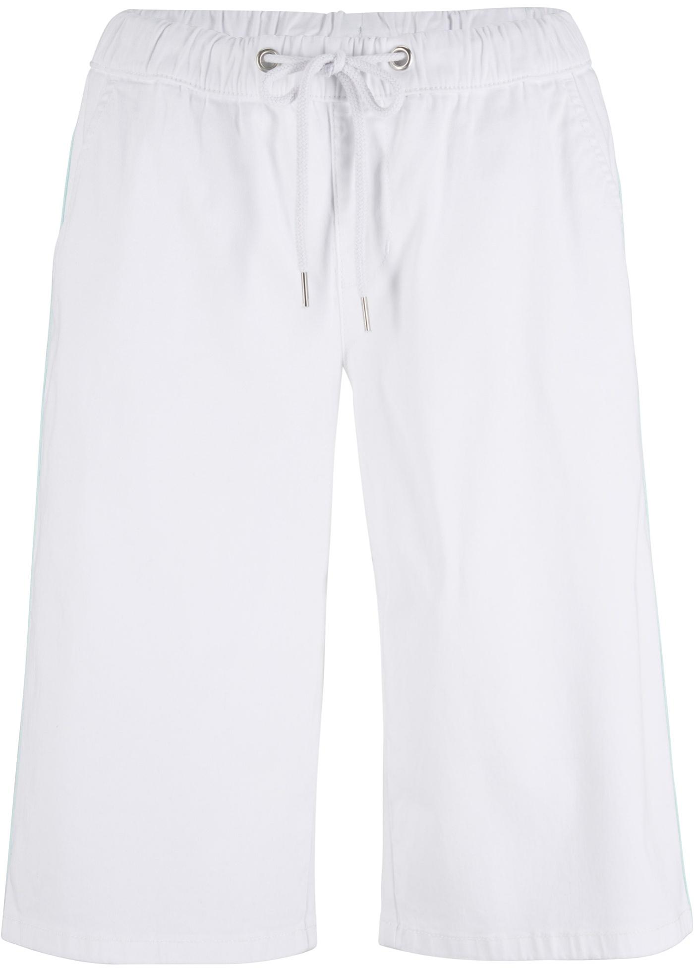 Jeans-Bermuda mit farbigem Streifen in weiß für Damen von bonprix