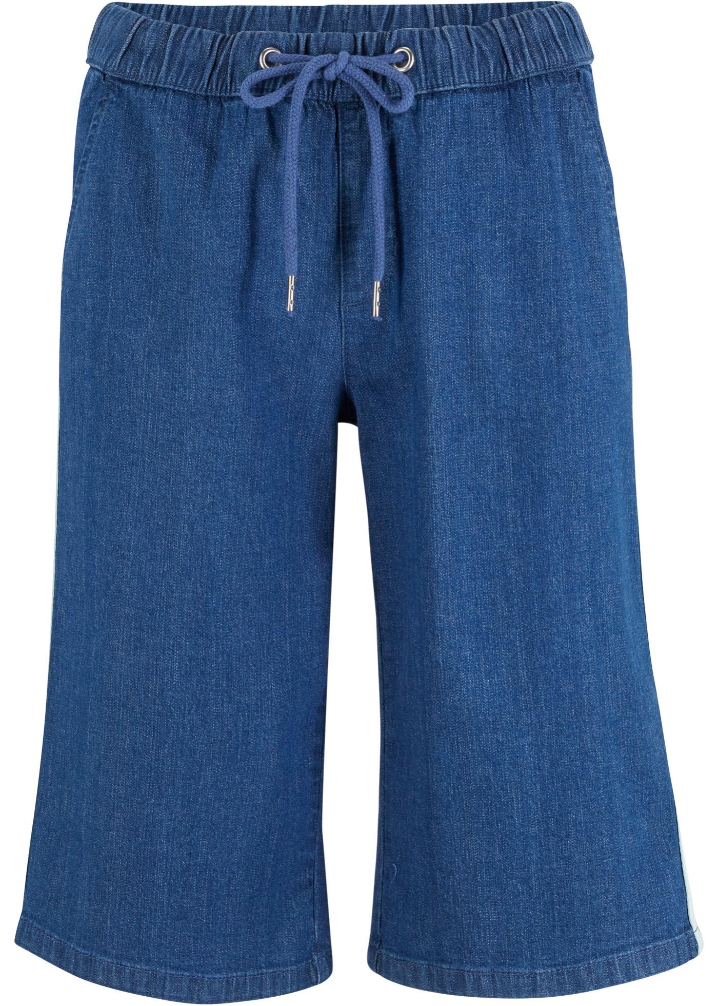 Jeans-Bermuda mit farbigem Streifen in blau für Damen von bonprix