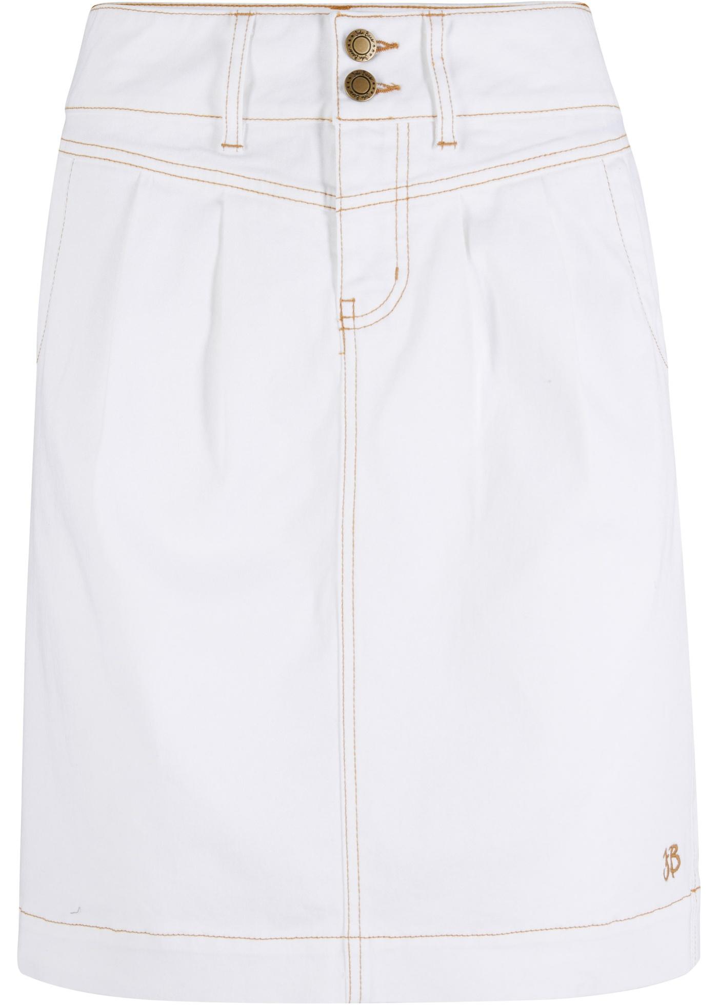 Stretch-Jeansrock in weiß für Damen von bonprix