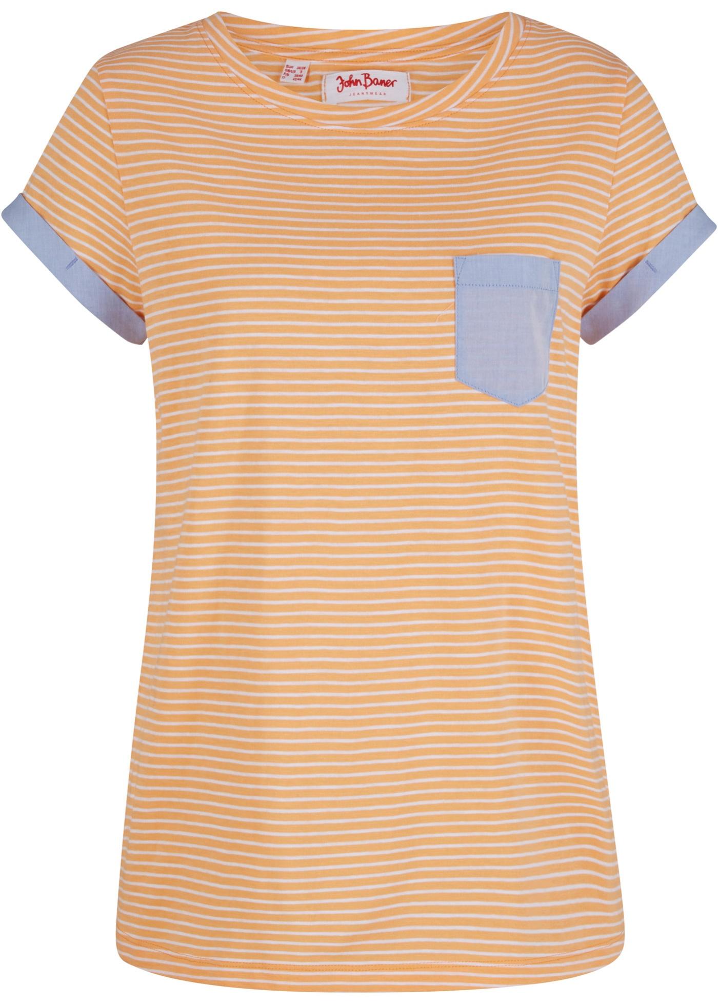 Baumwoll Shirt, Kurzarm in orange für Damen von bonprix
