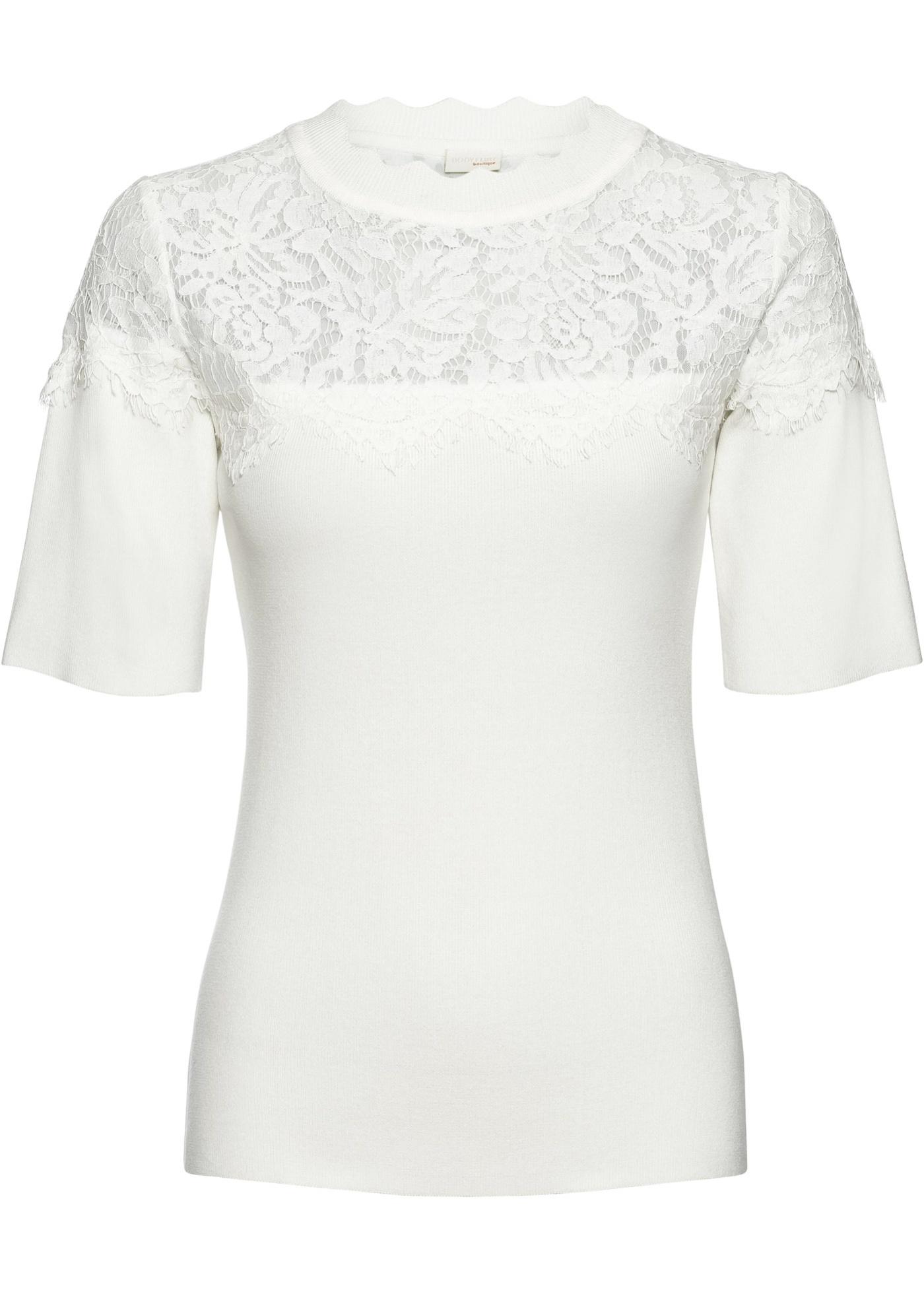 Feinripp-Pullover mit Spitze halber Arm  in weiß für Damen von bonprix