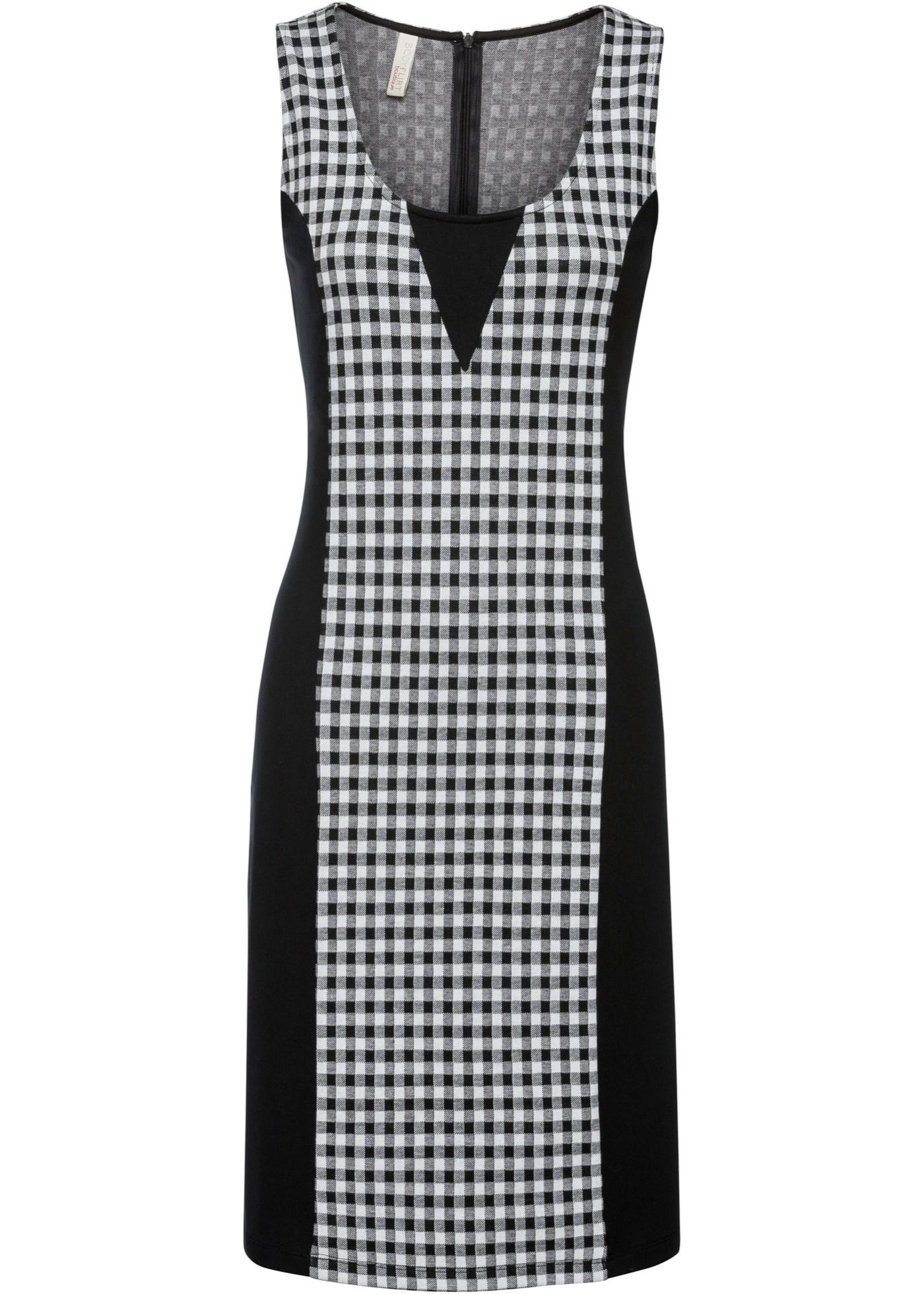 Kleid mit Karomuster ohne Ärmel  in schwarz für Damen von bonprix