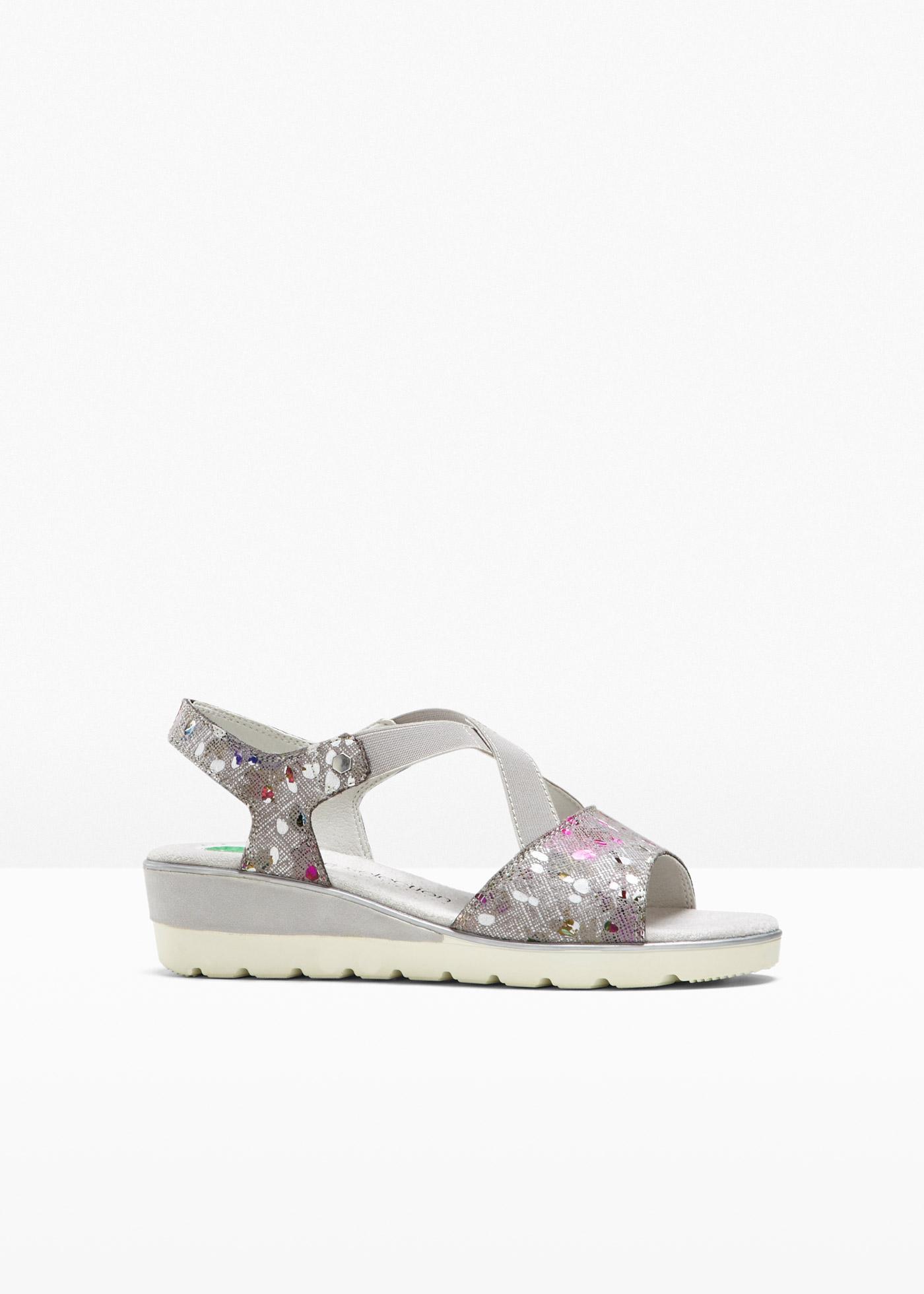 bequeme Sandale mit 4 cm Keilabsatz in lila von bonprix