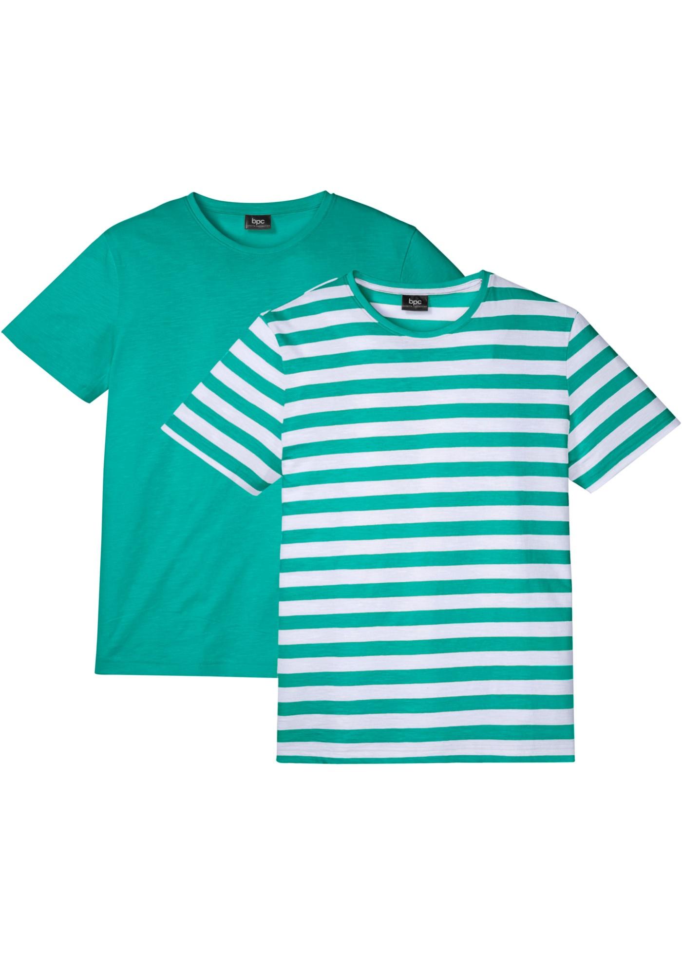 T-Shirt 2er Pack kurzer Arm  in grün für Herren von bonprix