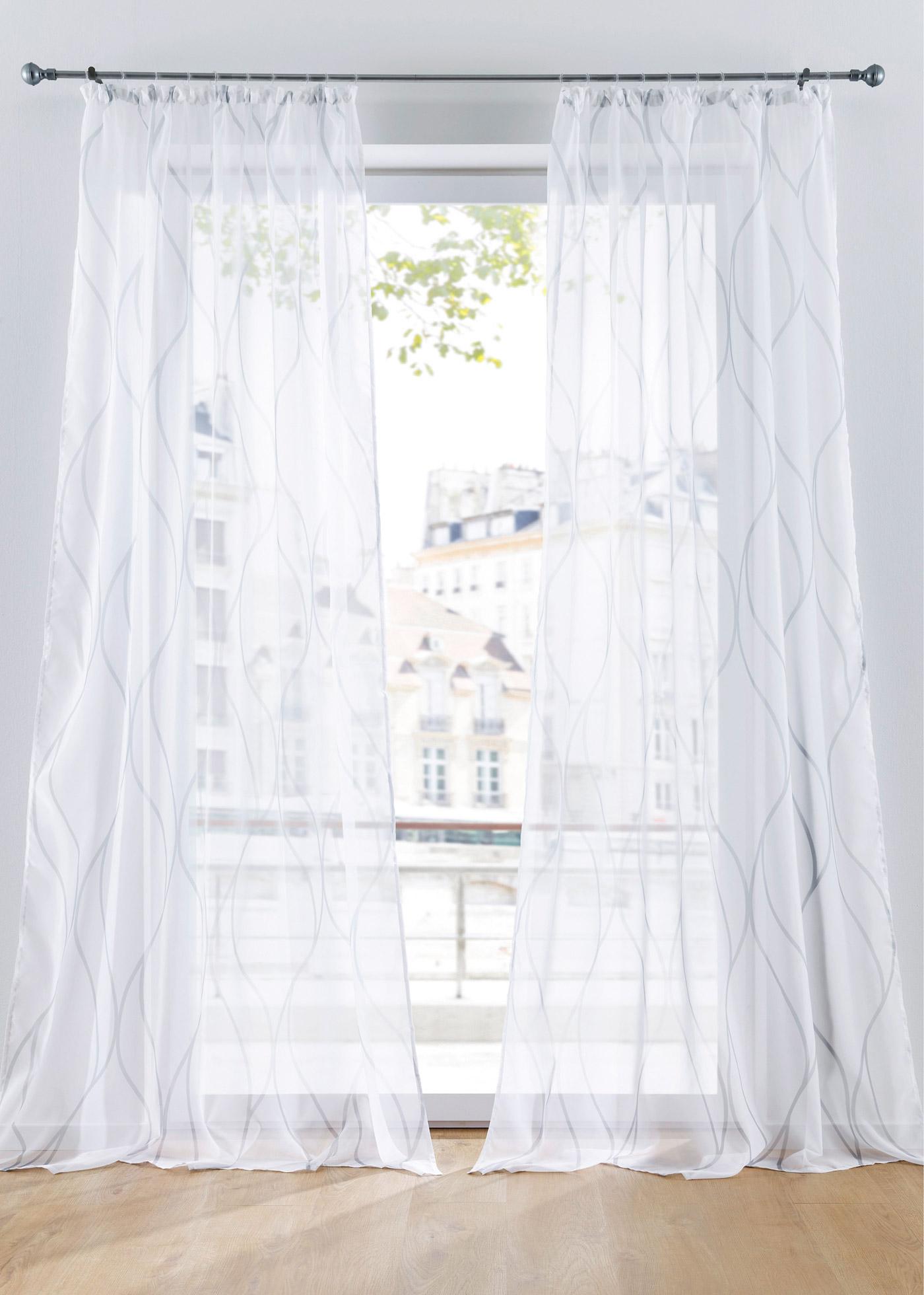 Transparente Gardine mit Druck (1er Pack) in weiß von bonprix