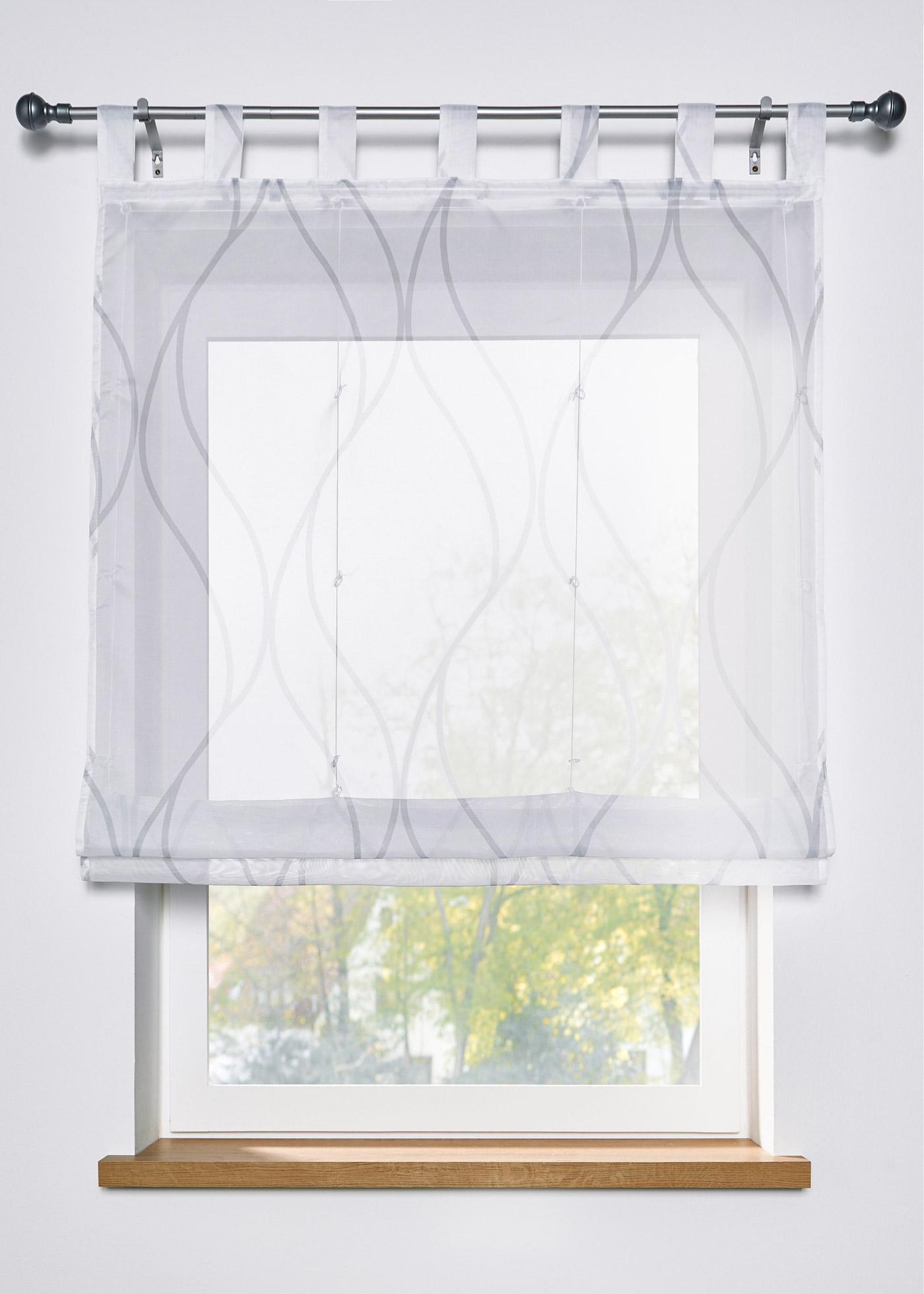 Transparentes Raffrollo mit Druck in weiß von bonprix